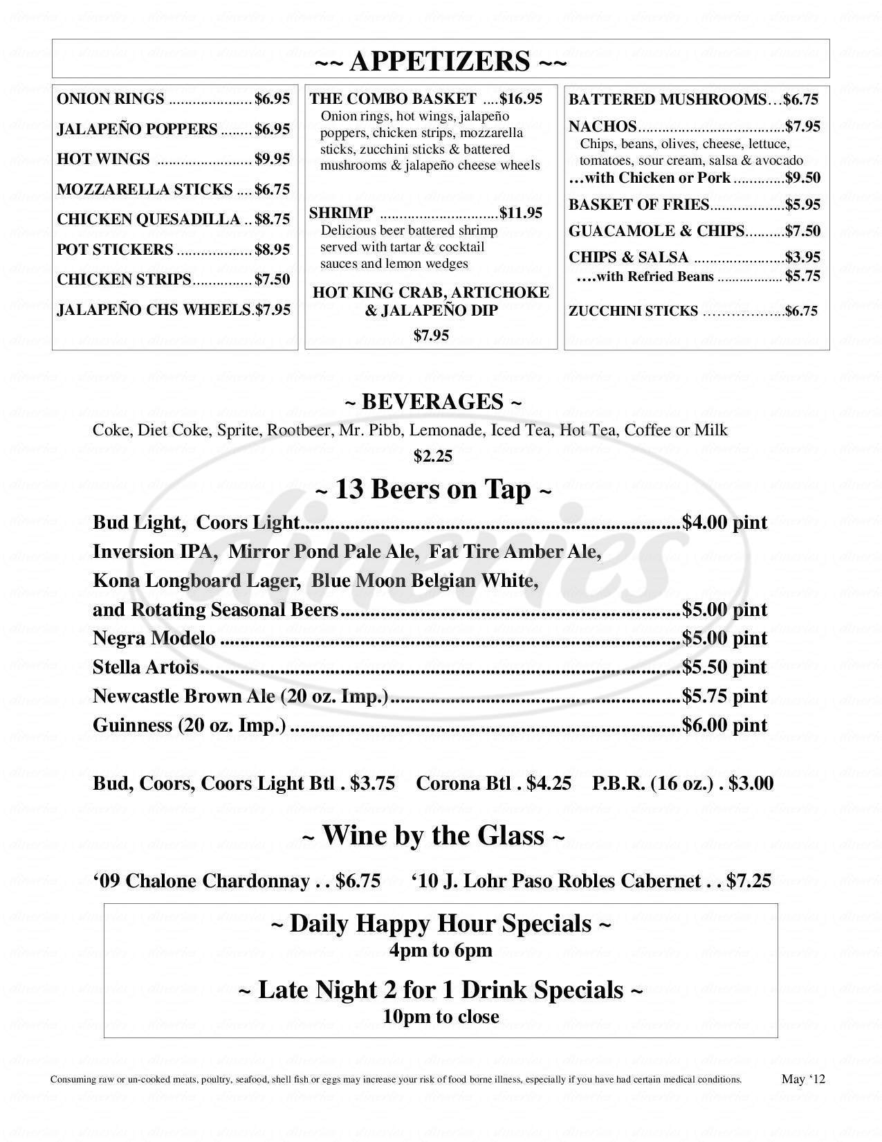 menu for Mott Canyon Tavern & Grill