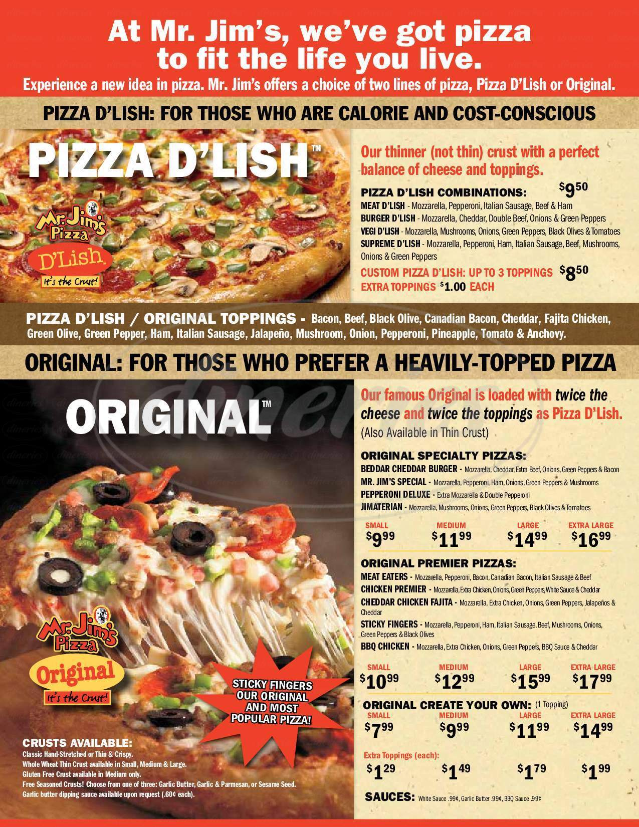 menu for Mr Jim's Pizza