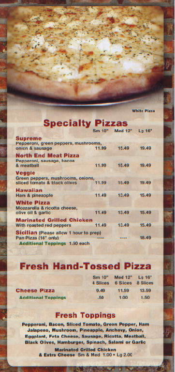 menu for North End Pizza