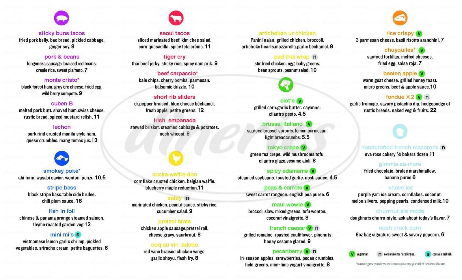menu for Nosh & Swig