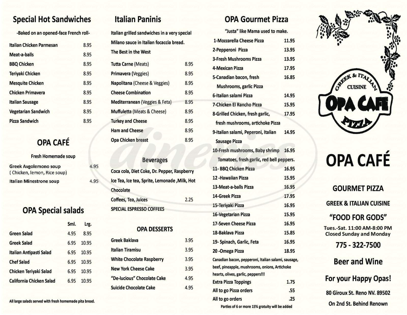 menu for Opa Cafe