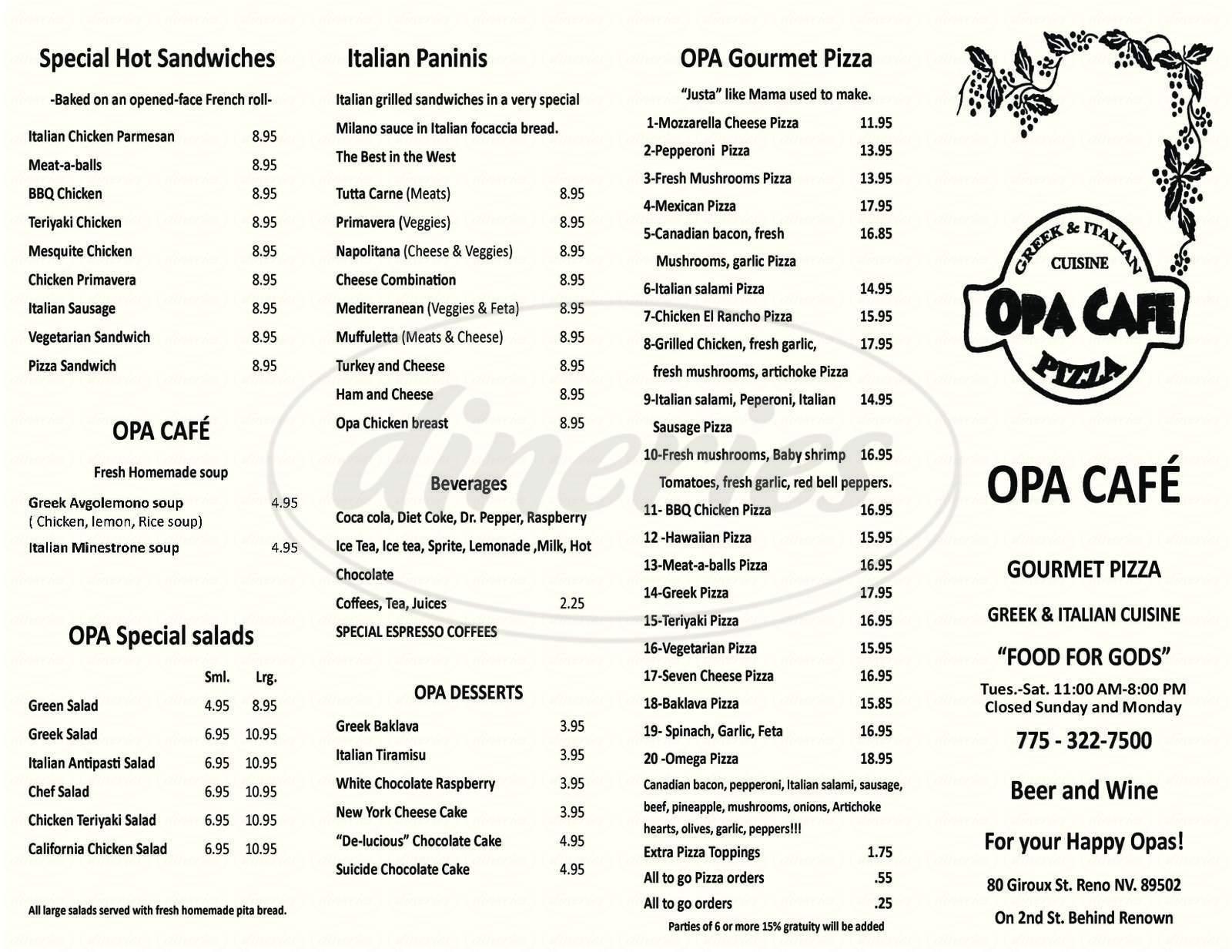 menu for Opa Cafe