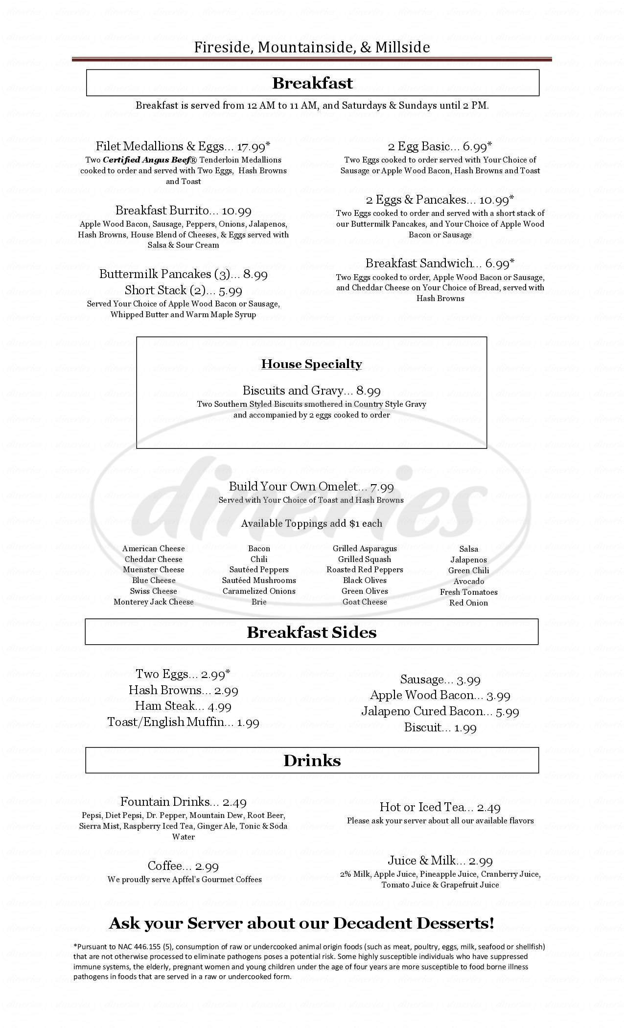 menu for Fireside Restaurant & Tavern