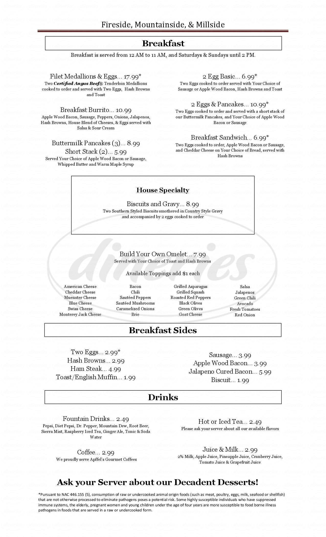 menu for MountainSide