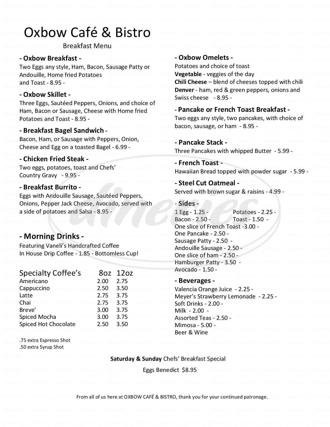 menu for Oxbow Cafe And Bistro