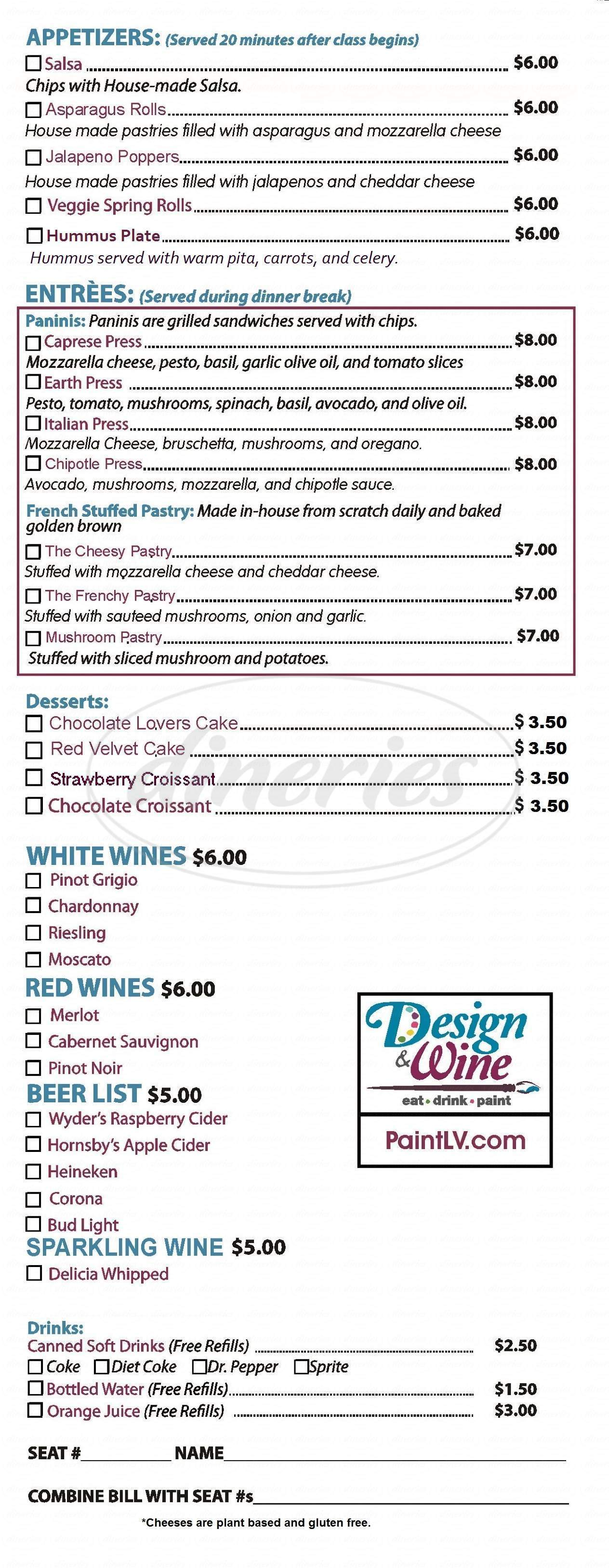 menu for Design & Wine
