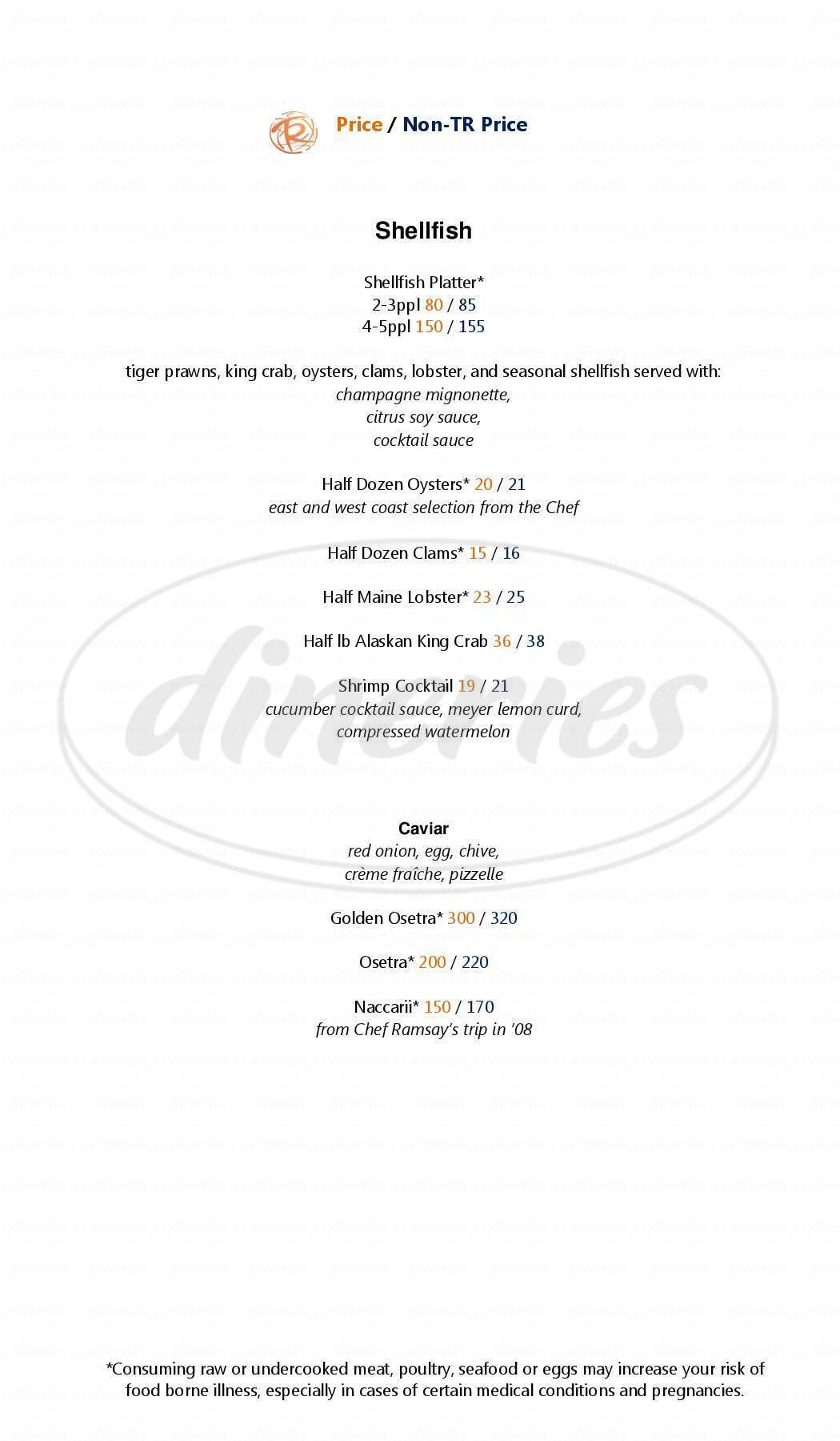 menu for Gordon Ramsay Steak