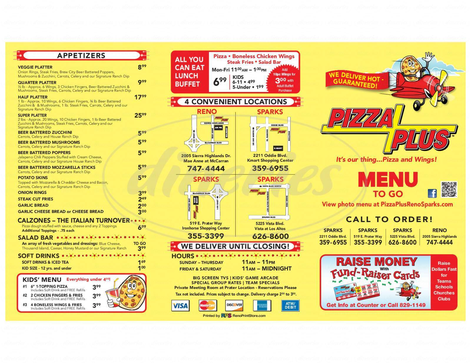 menu for Pizza Plus