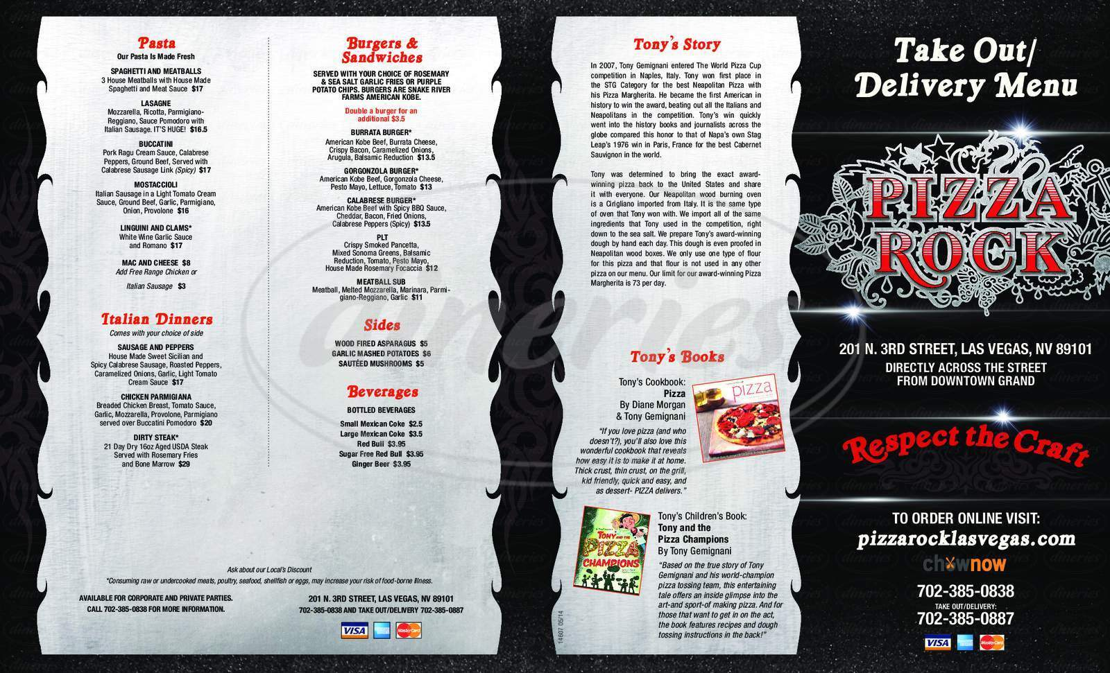 menu for Pizza Rock