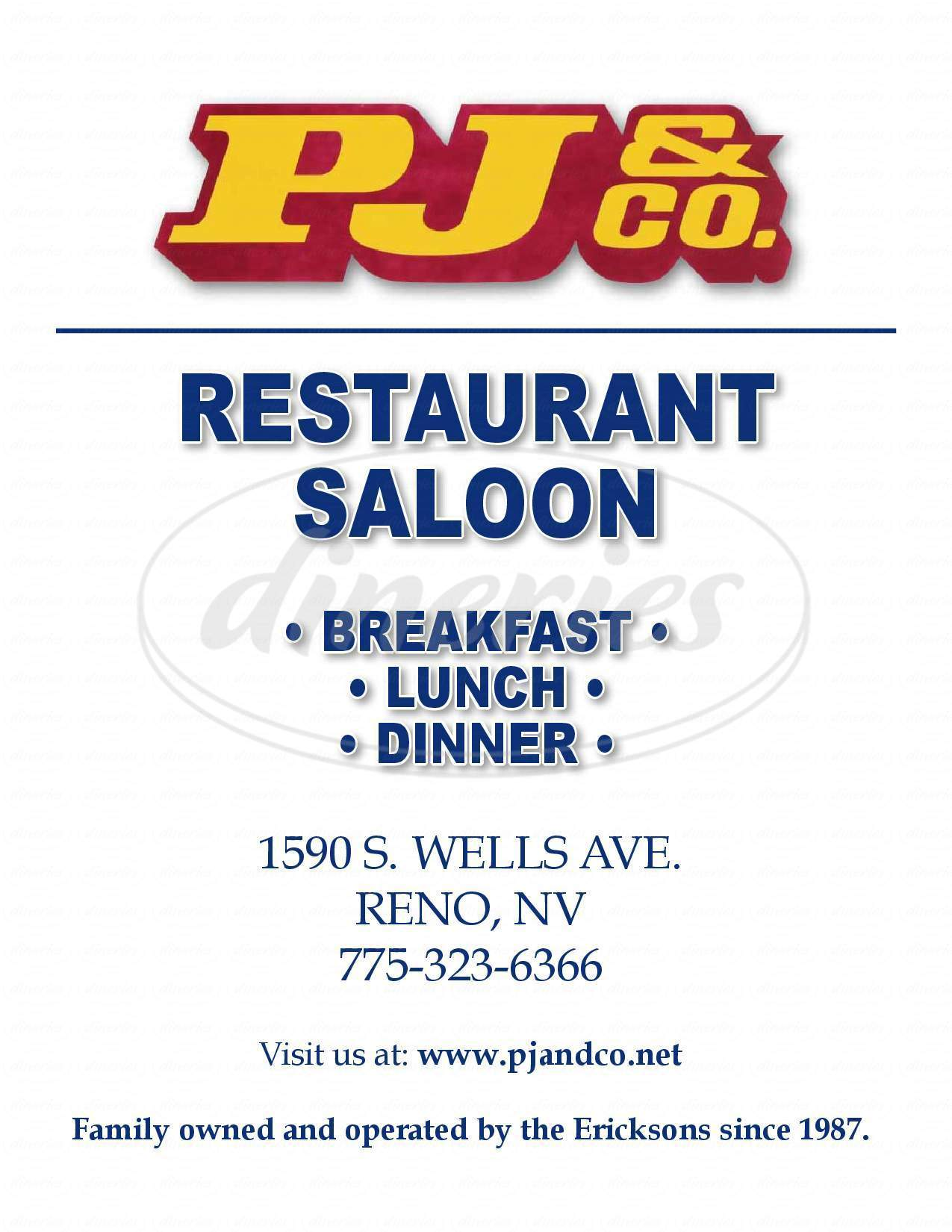 menu for PJ & Company