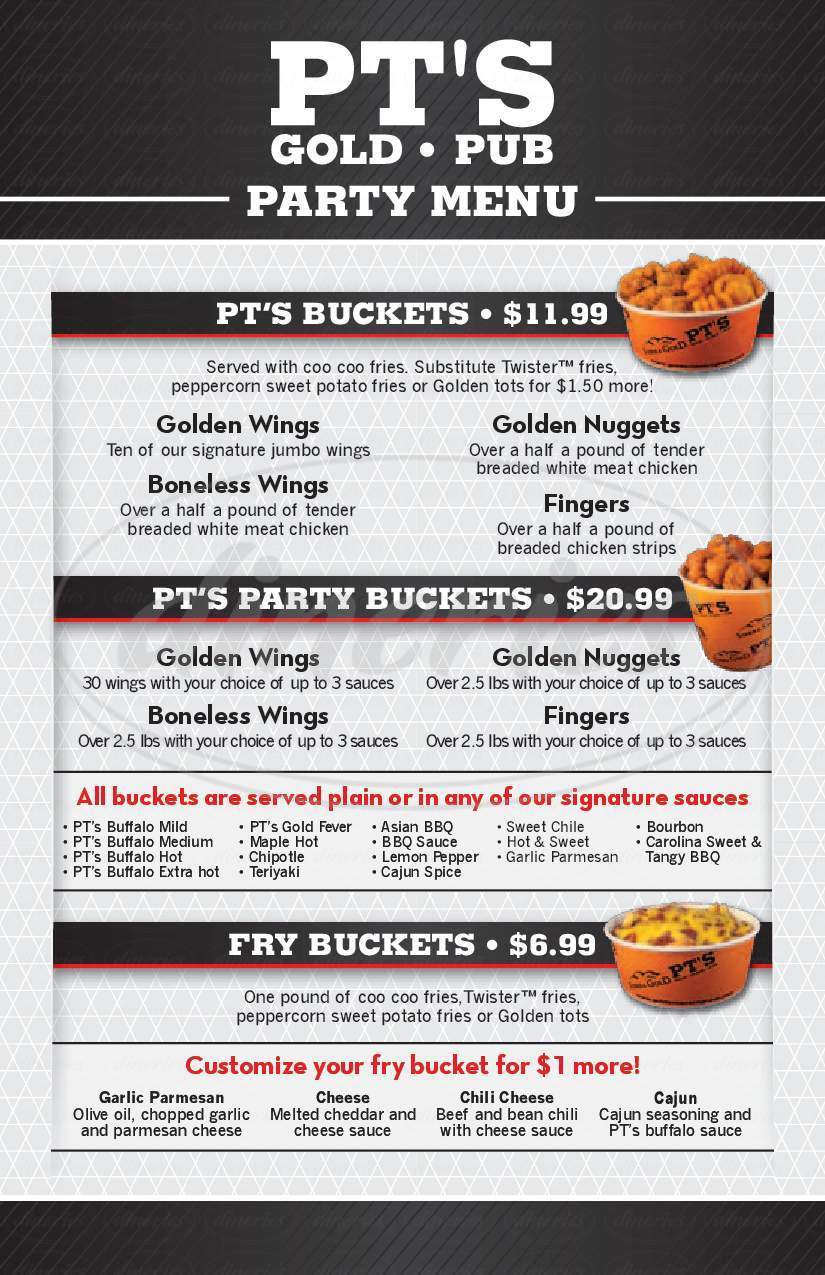 menu for PT's