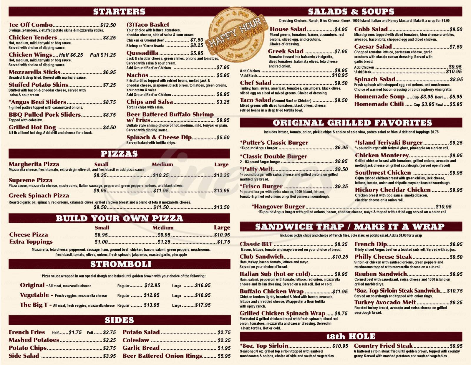 menu for Putter's Charleston