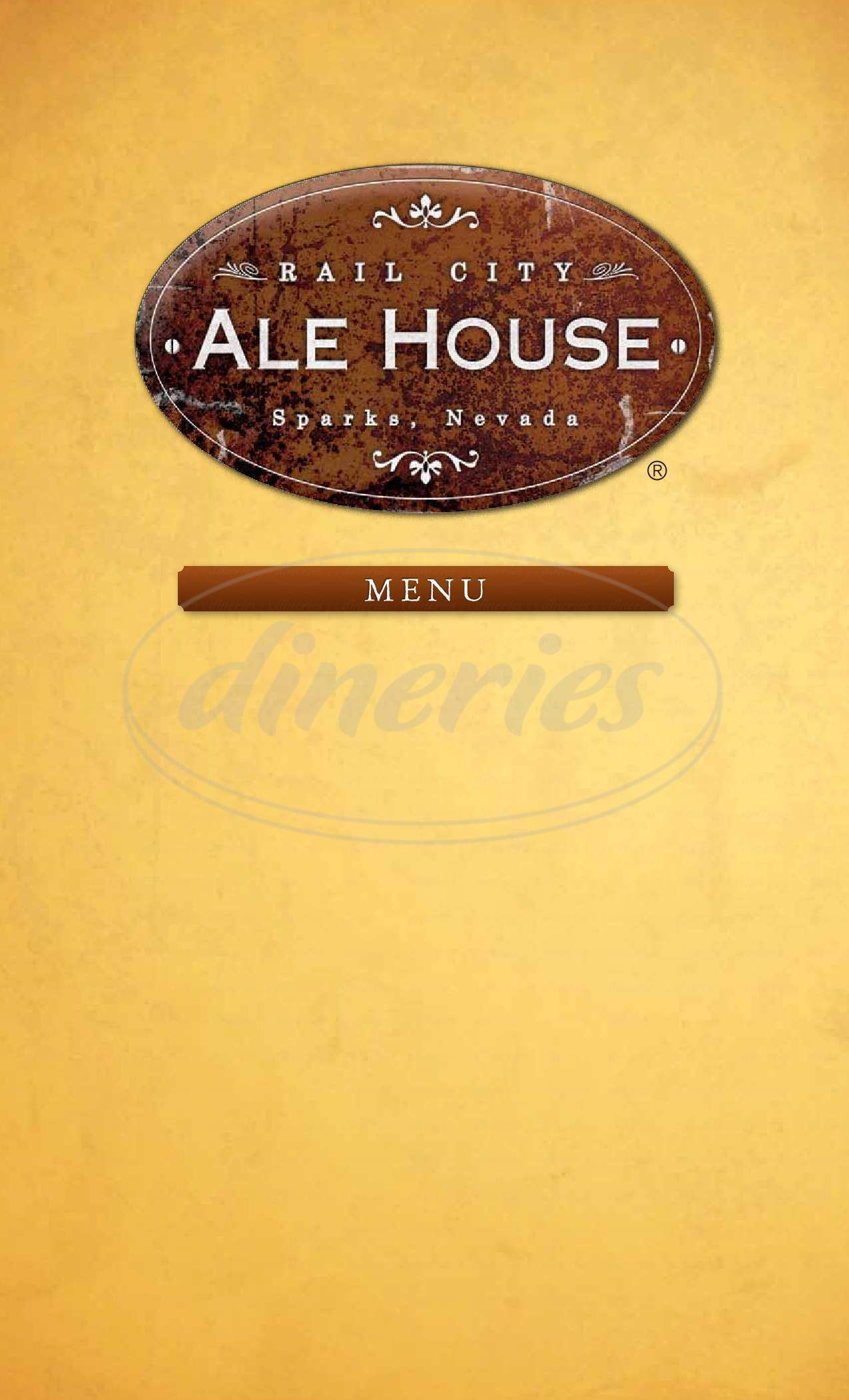 menu for Rail City's Ale House