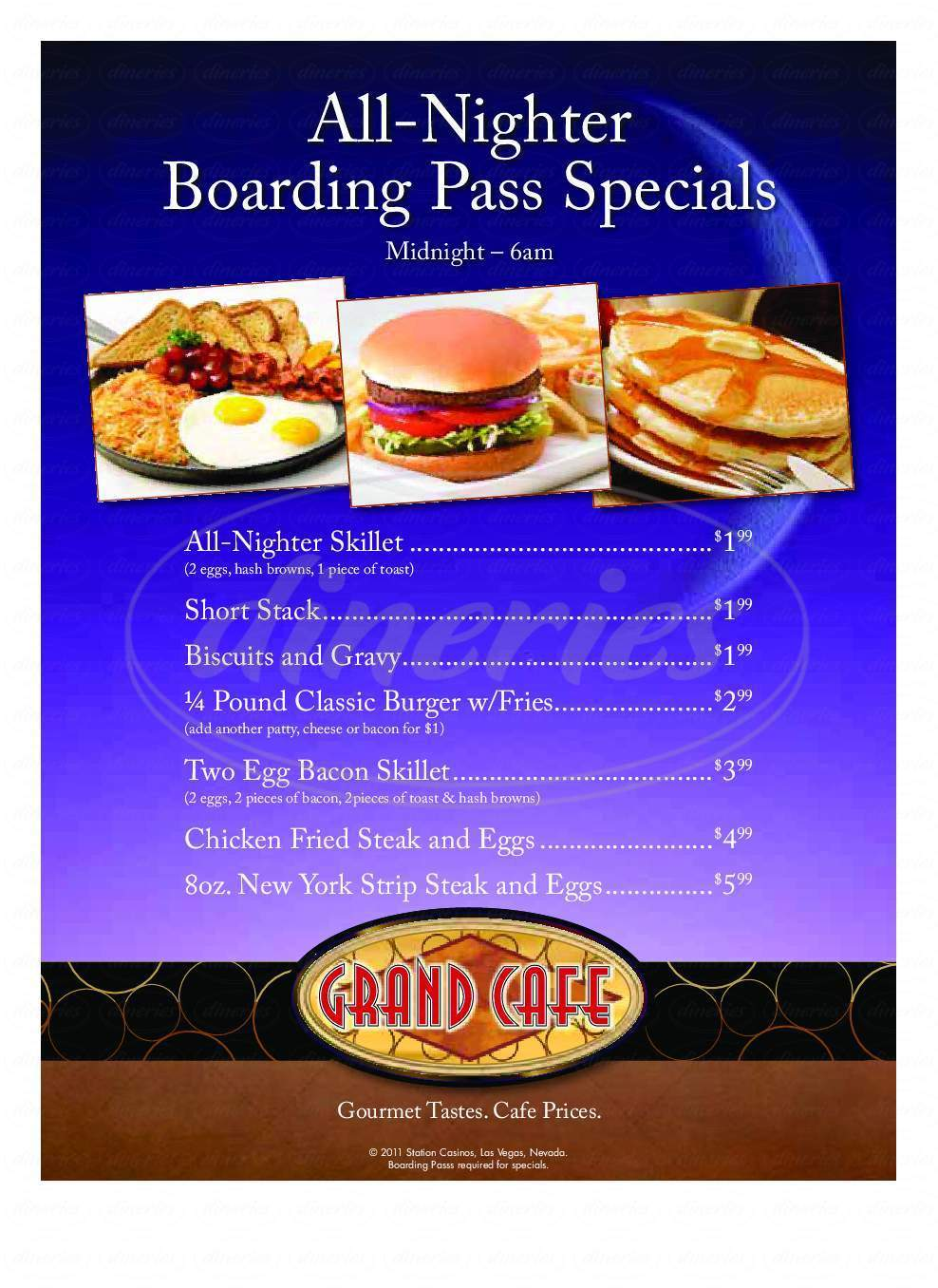 menu for Grand Cafe At Red Rock