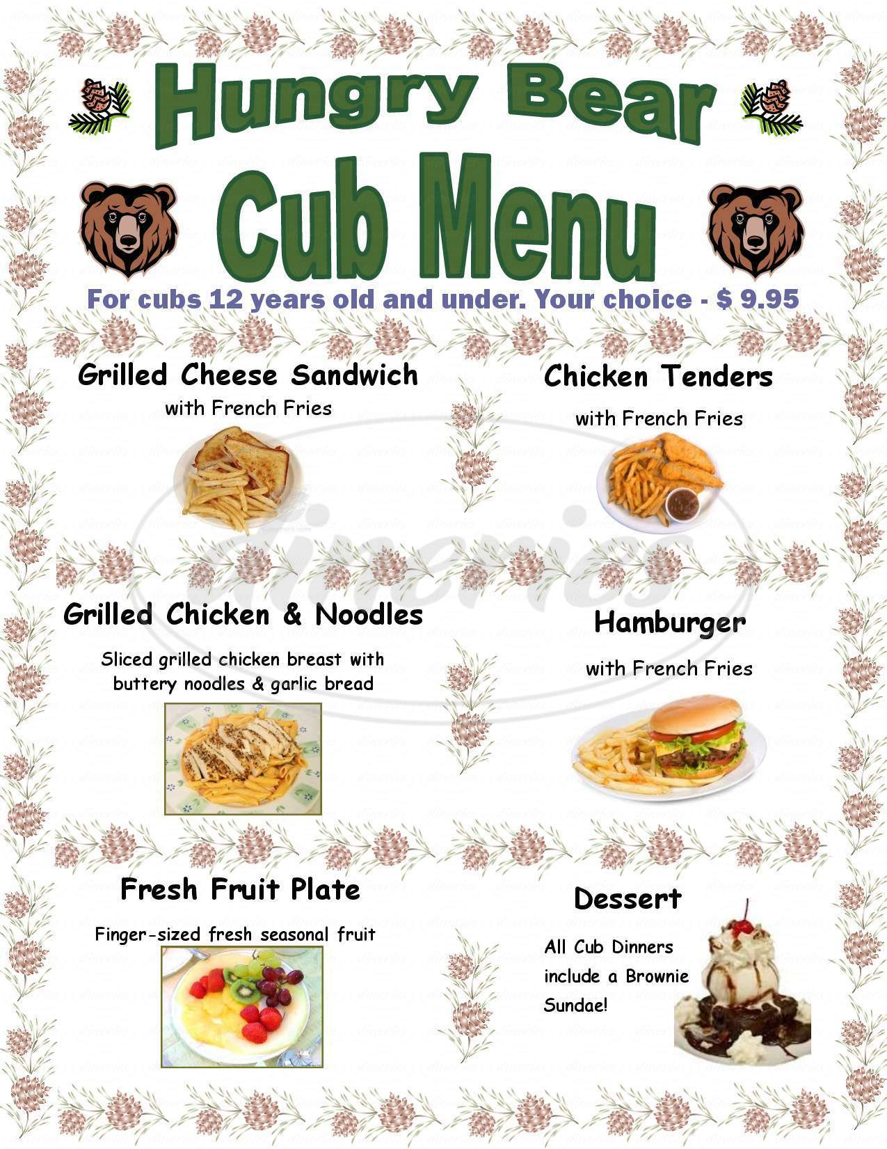 menu for Hungry Bear Restaurant