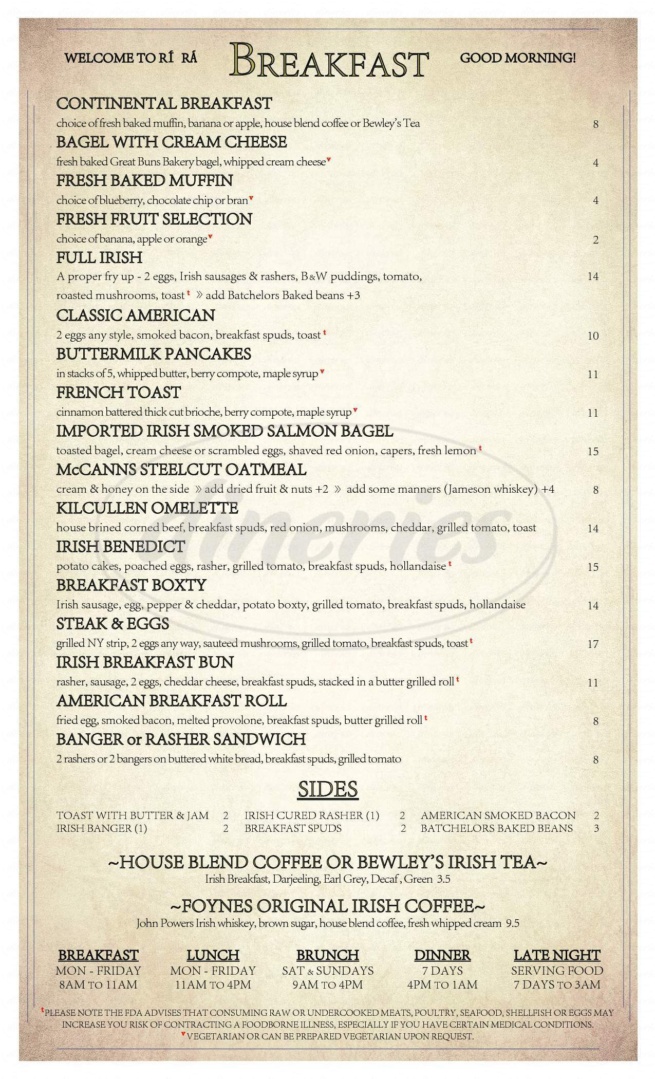menu for Rí Rá