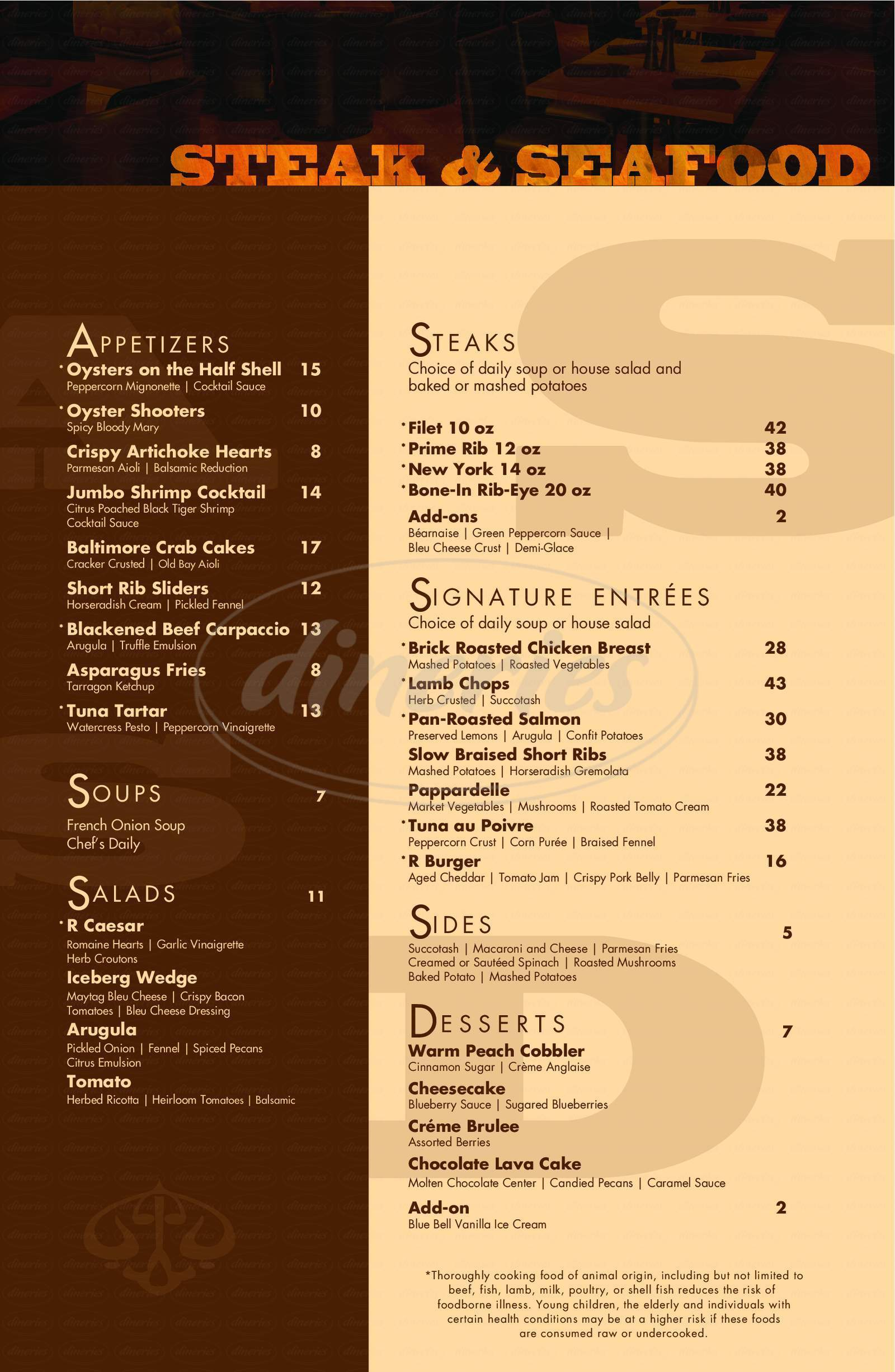 menu for R Steak & Seafood