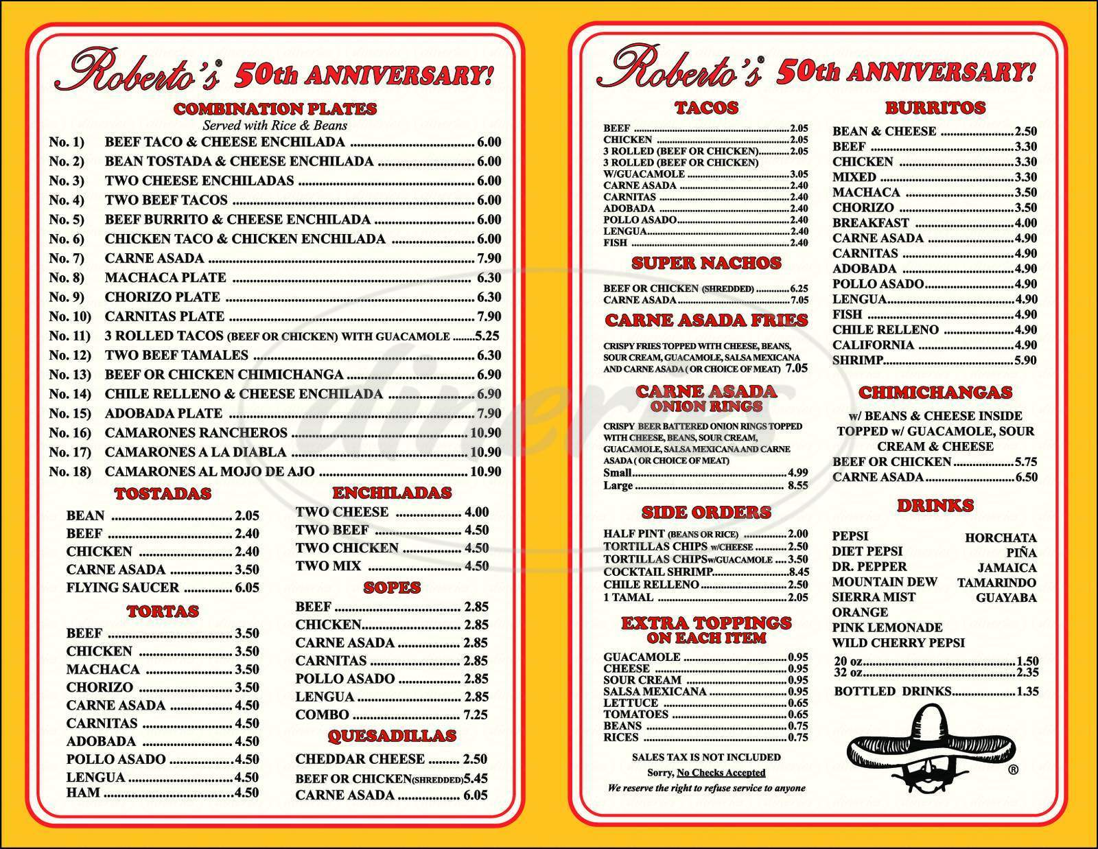 menu for Robertos Taco Shop
