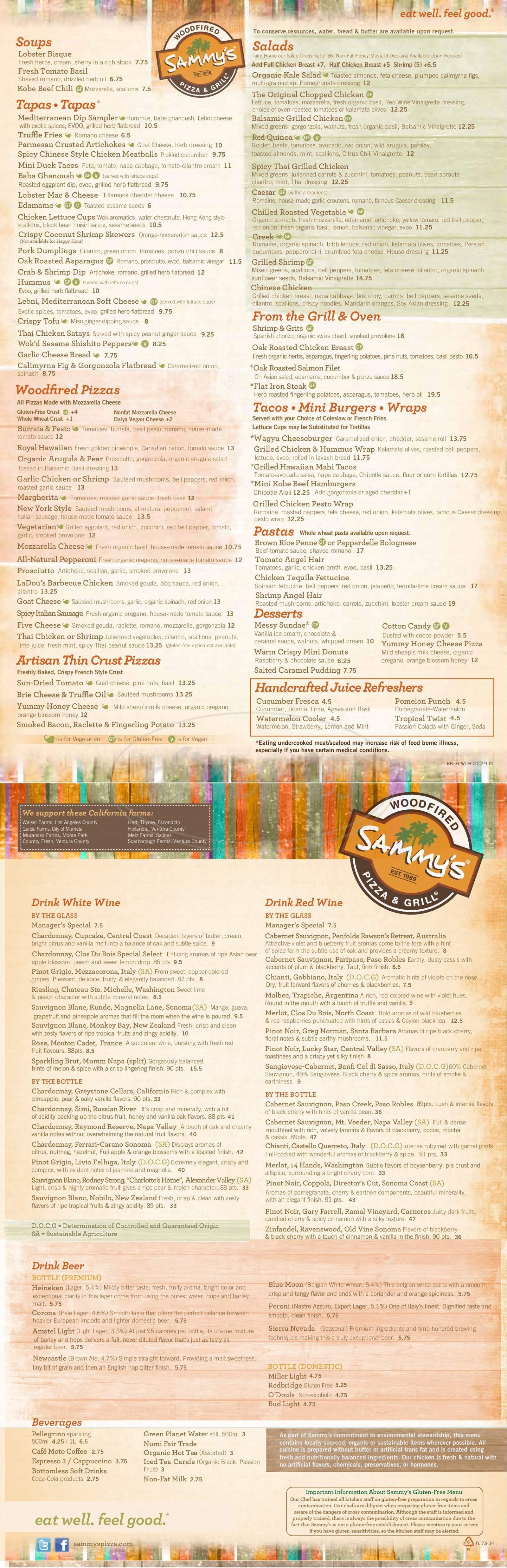 menu for Sammy's Woodfired Pizza and Grill
