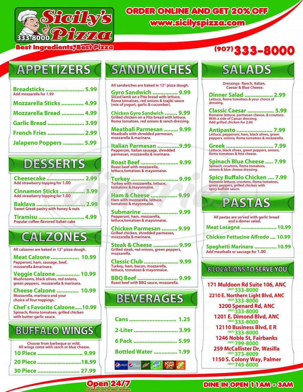 menu for Sicily's Pizza II