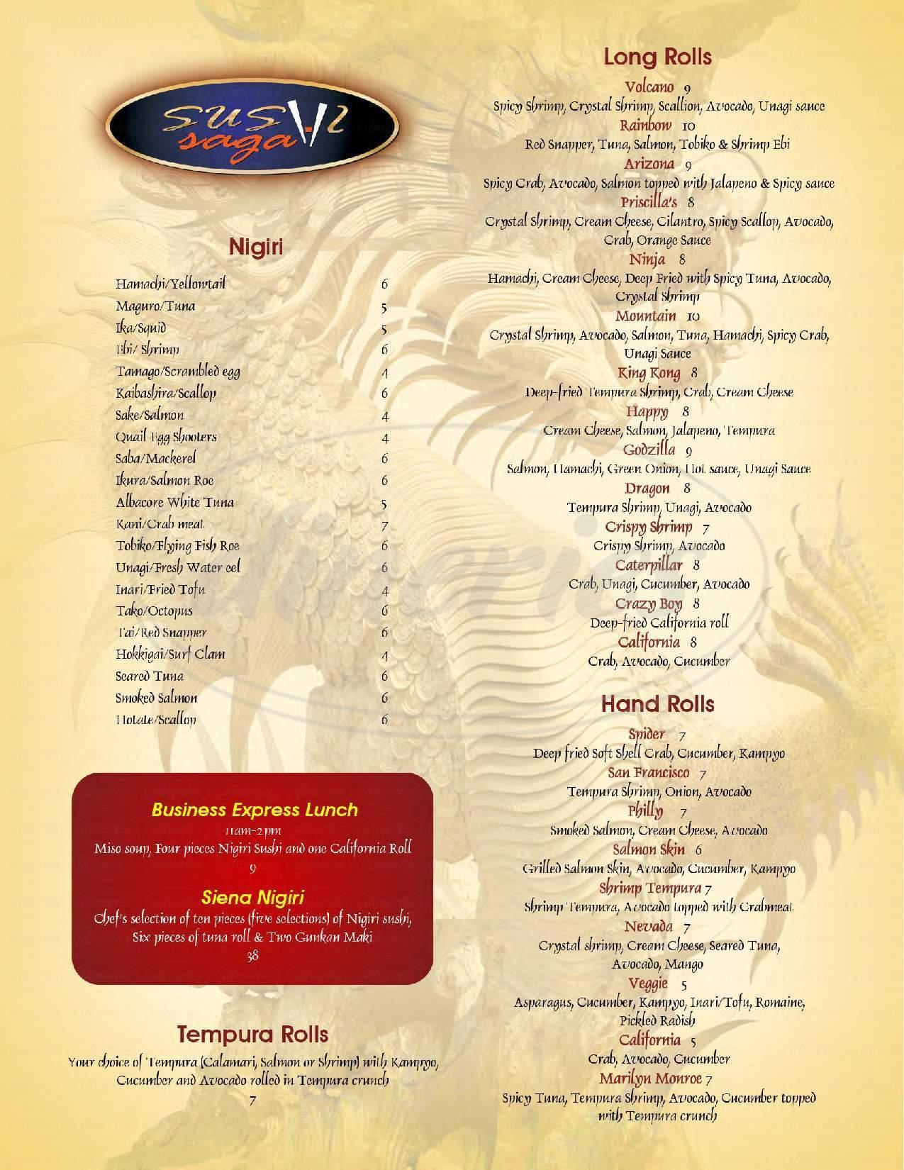 menu for Sushi Saga