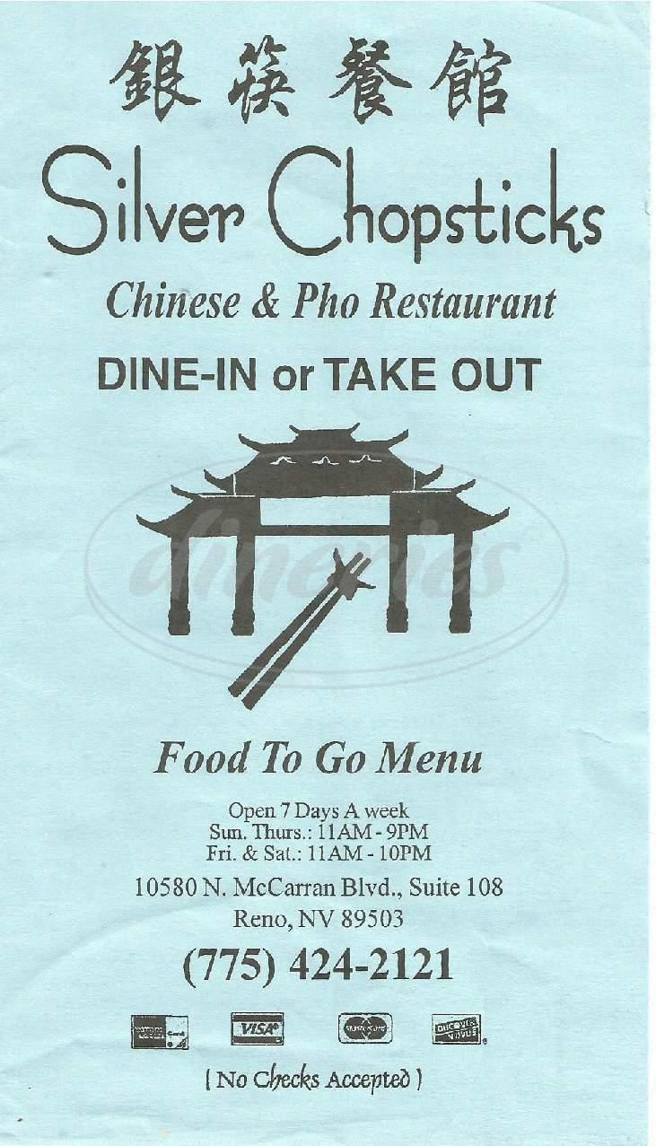 menu for Silver Chopsticks