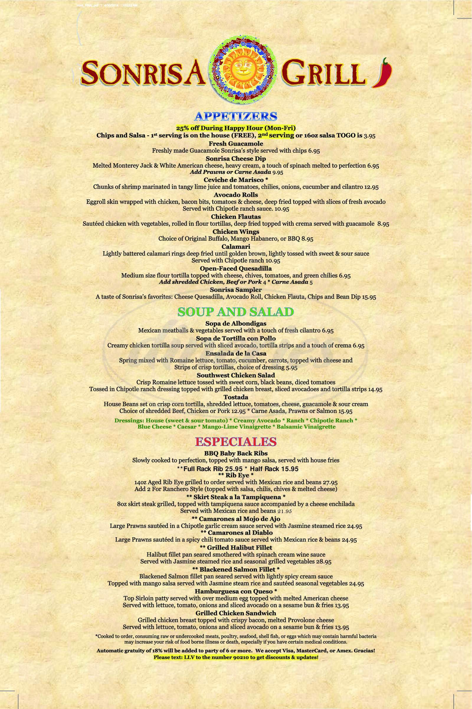 menu for Sonrisa Grill