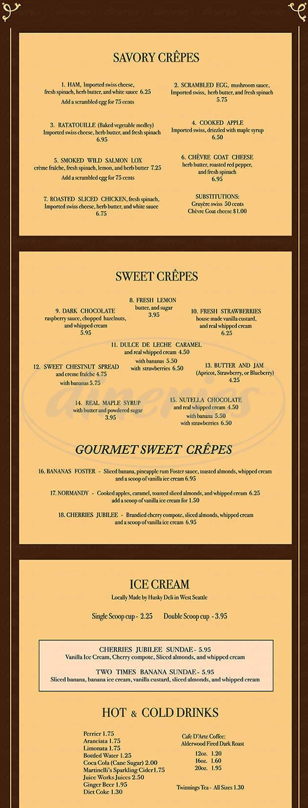 menu for La Crêperie Voilà
