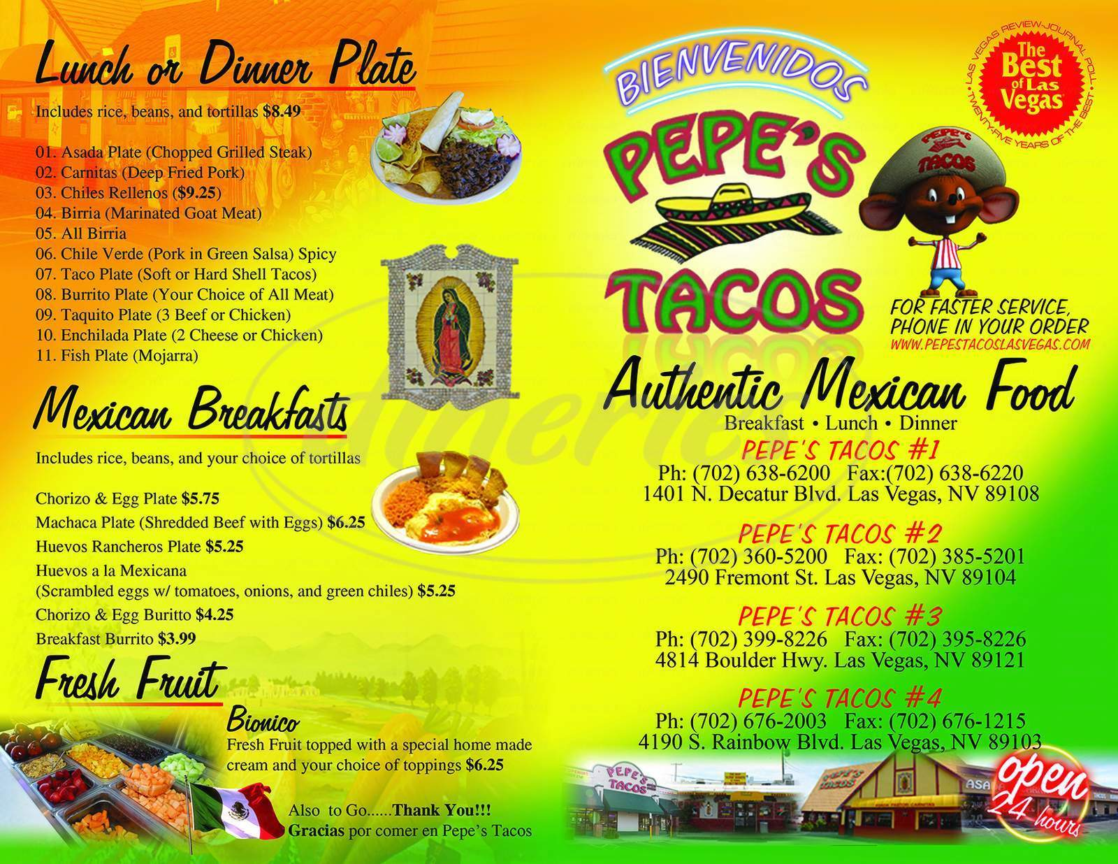 menu for Pepe's Tacos