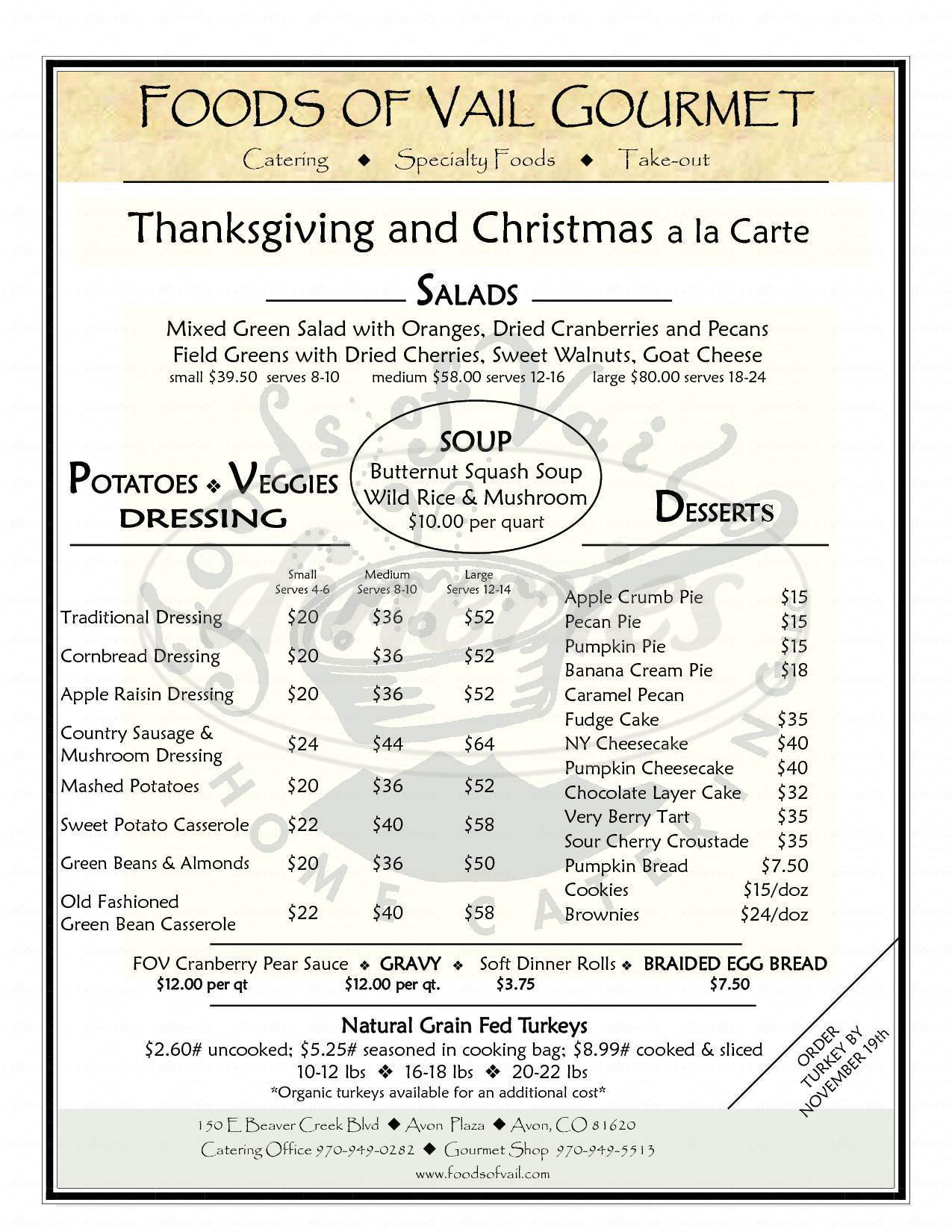 menu for Foods of Vail-Gourmet Catering and Deli