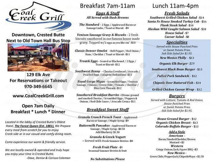 menu for Coal Creek Grill