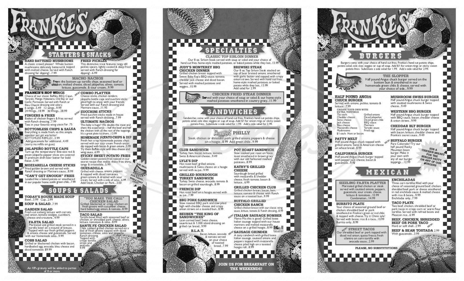 menu for Frankie's Bar & Grill