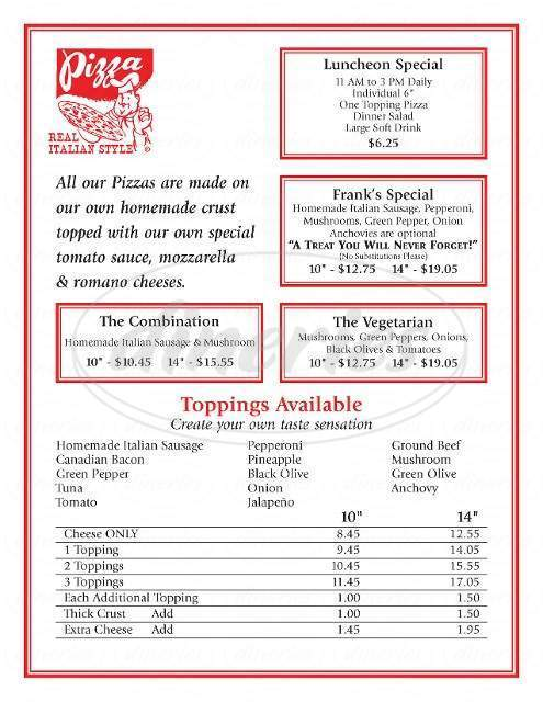 menu for Frank the Pizza King