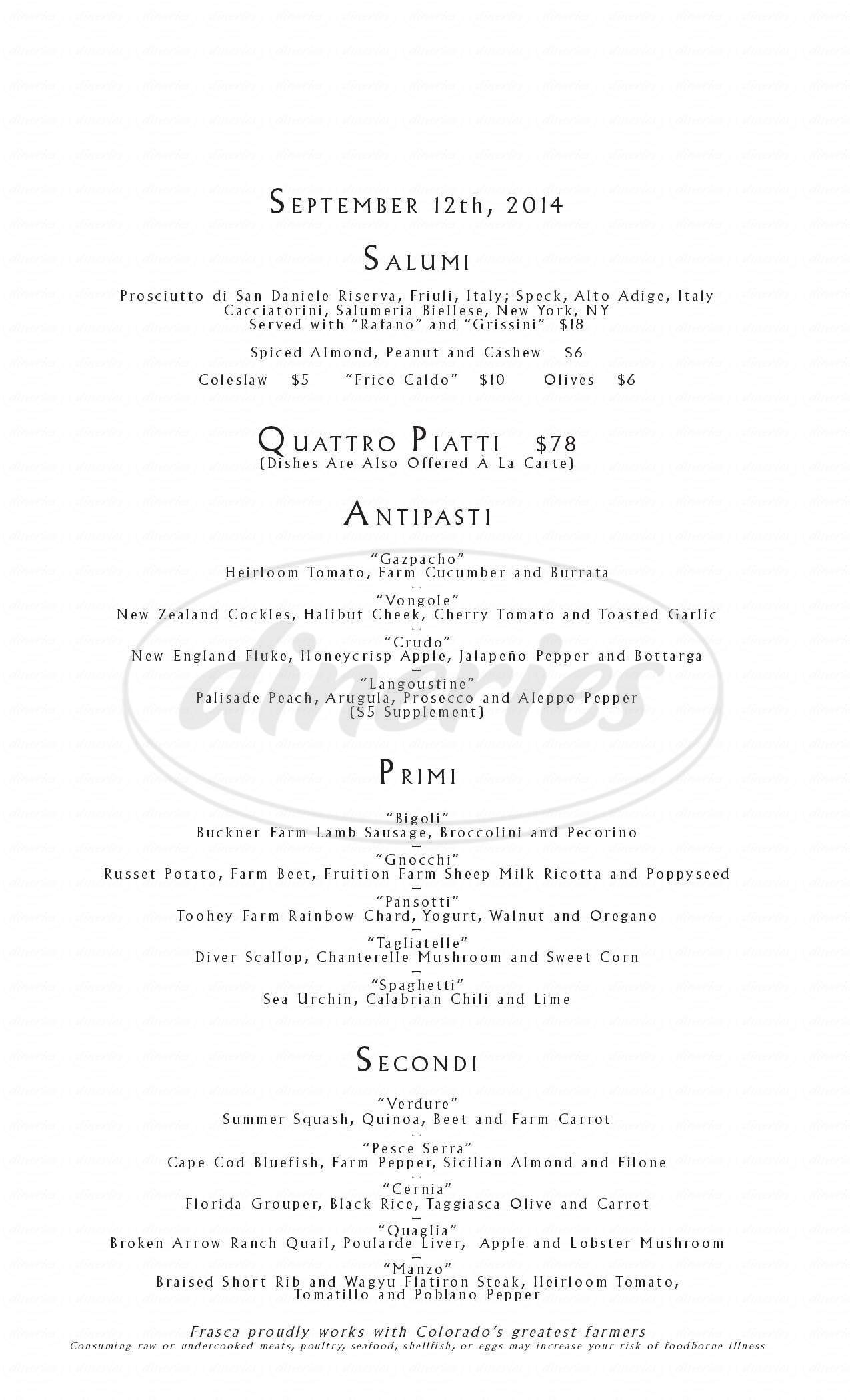 menu for Frasca Food and Wine