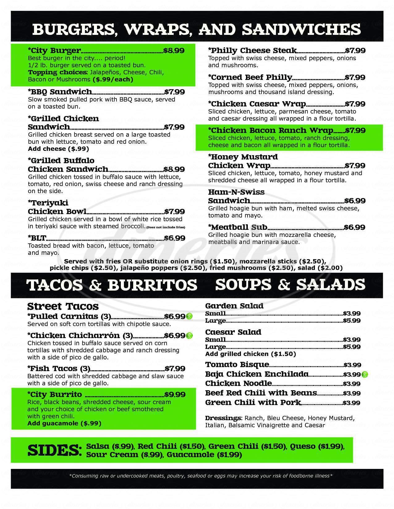 menu for Fun City