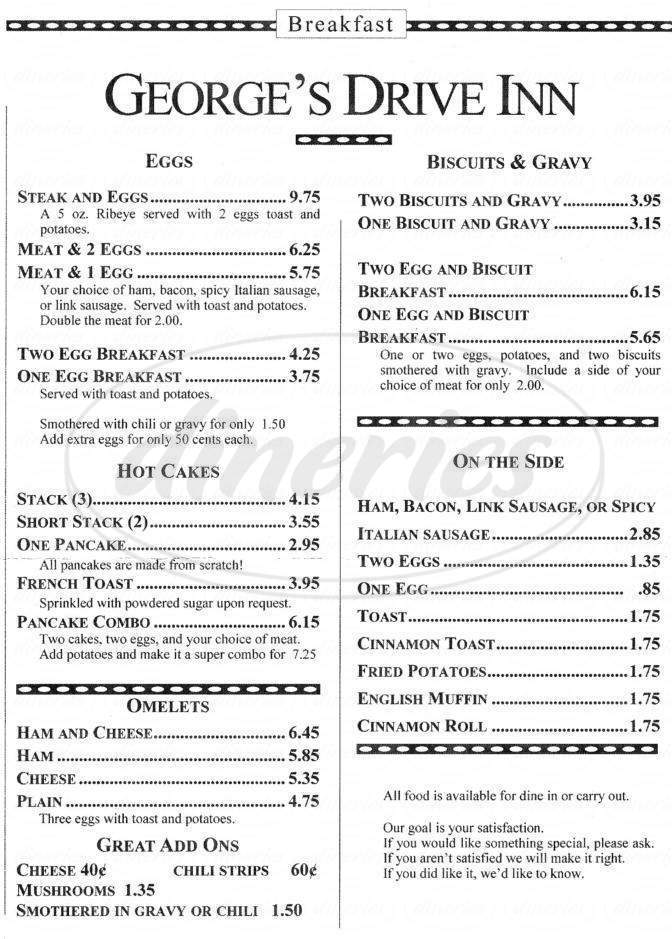 menu for George's Drive Inn