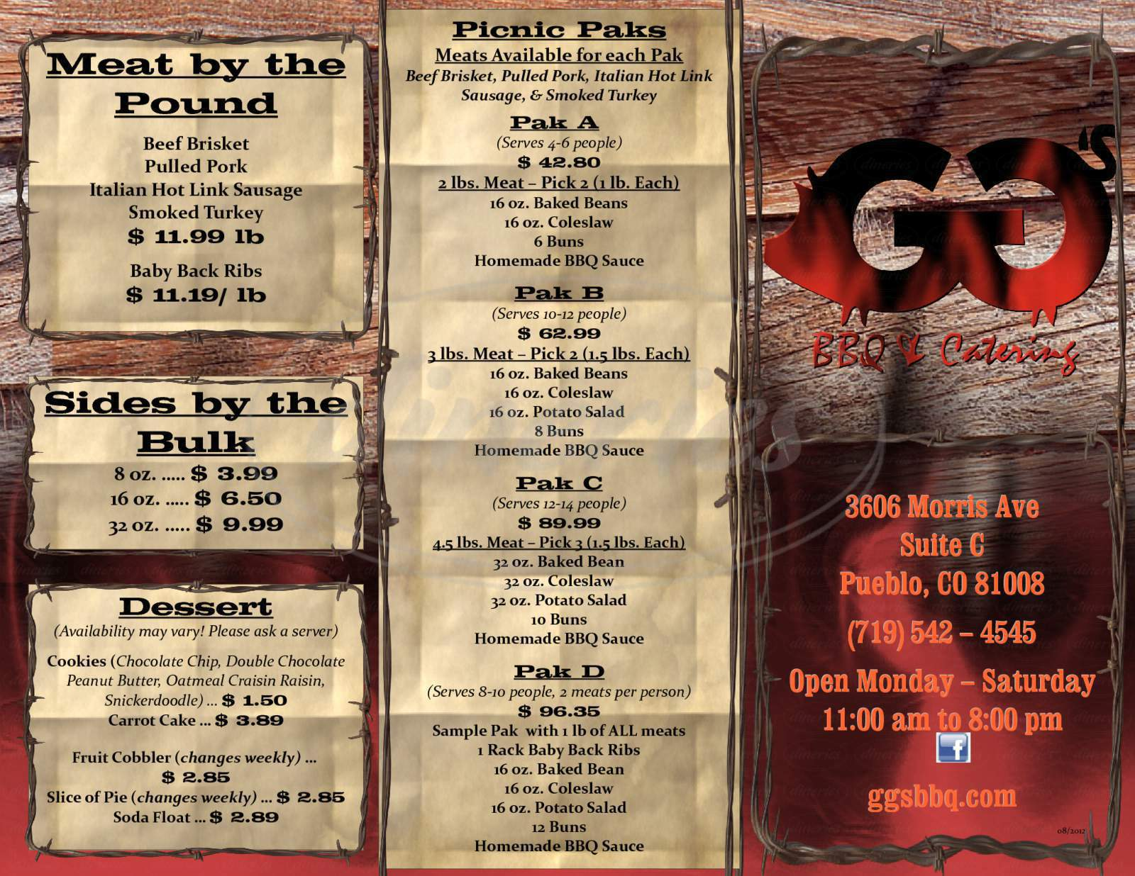 menu for GG's BBQ & Catering