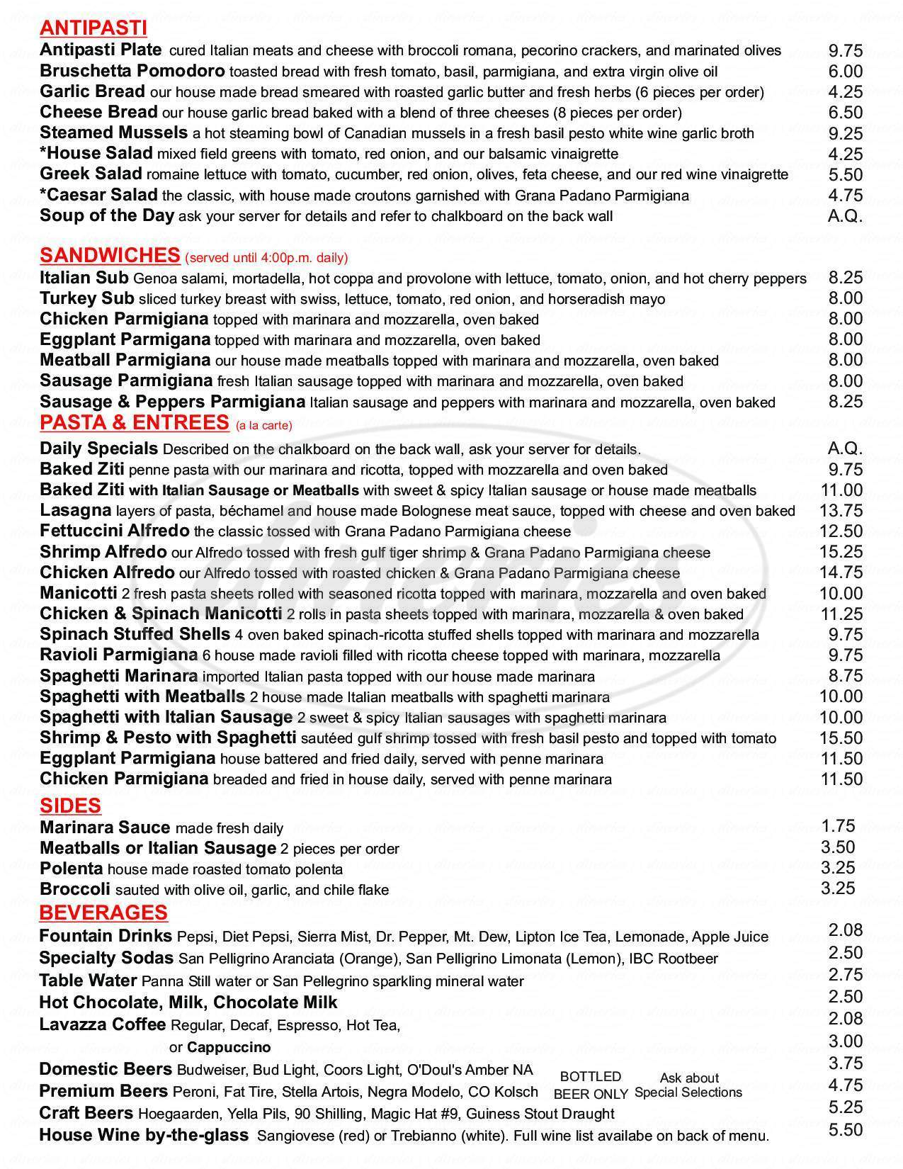 menu for Giampietro Pasta & Pizzeria