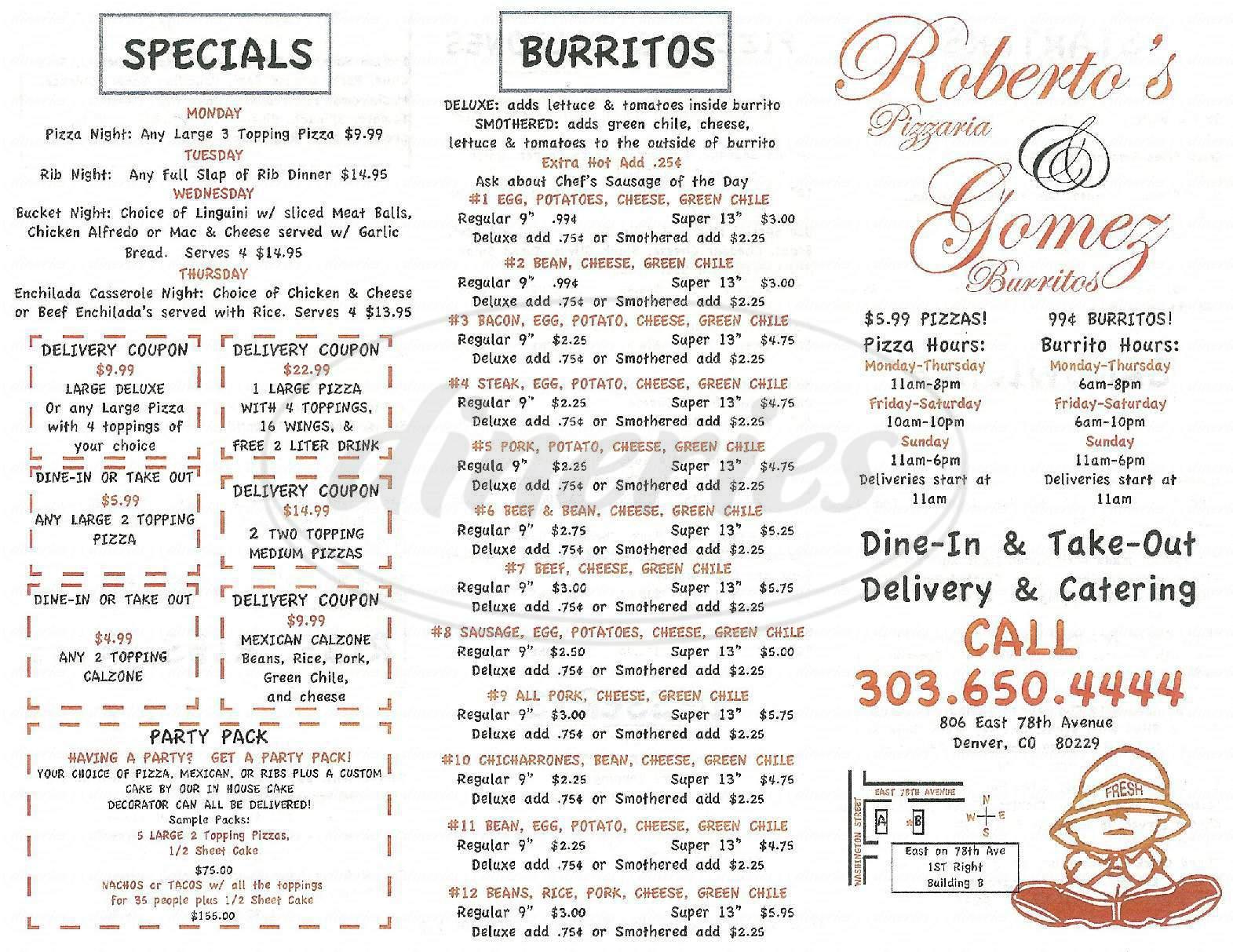 menu for Gomez Burritos