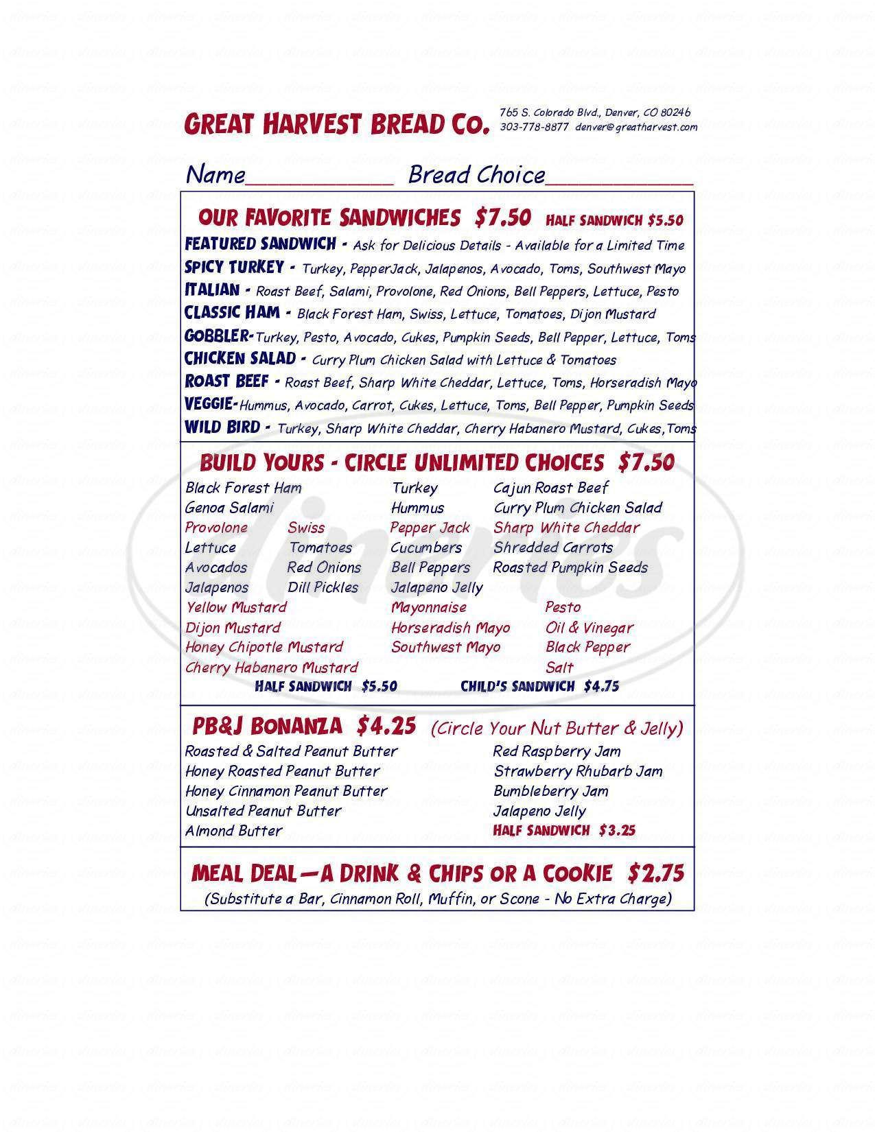 menu for Great Harvest Bread Co of Denver