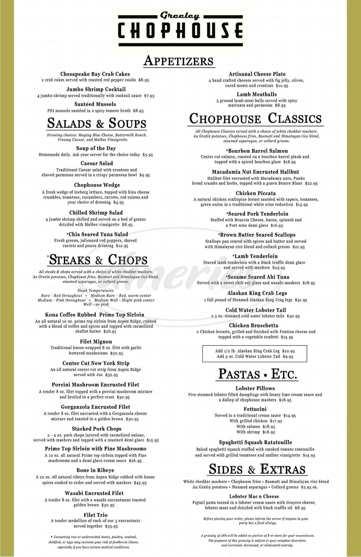 menu for Greeley Chophouse