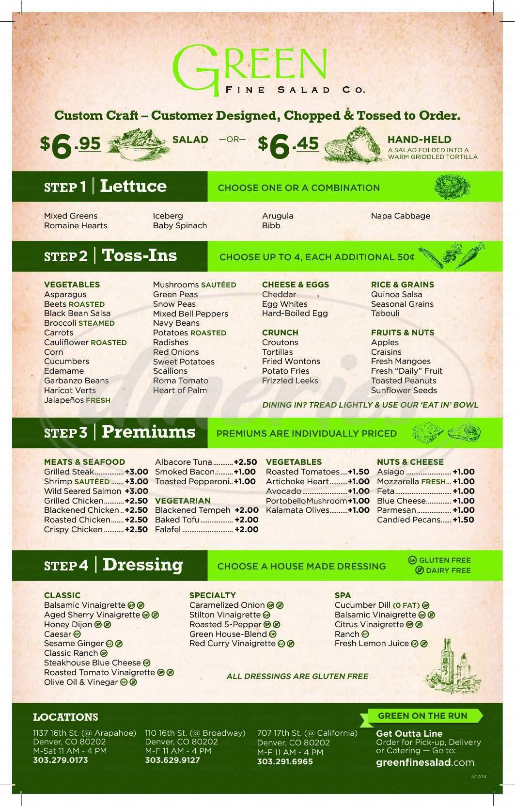 menu for Green Fine Salad