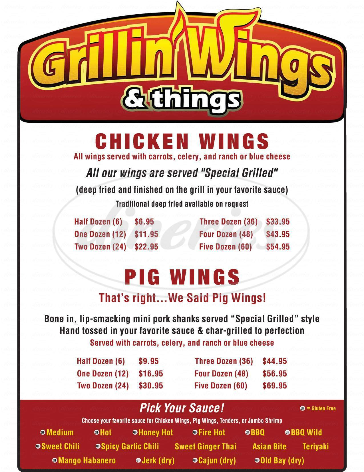 menu for Grillin' Wings & Things