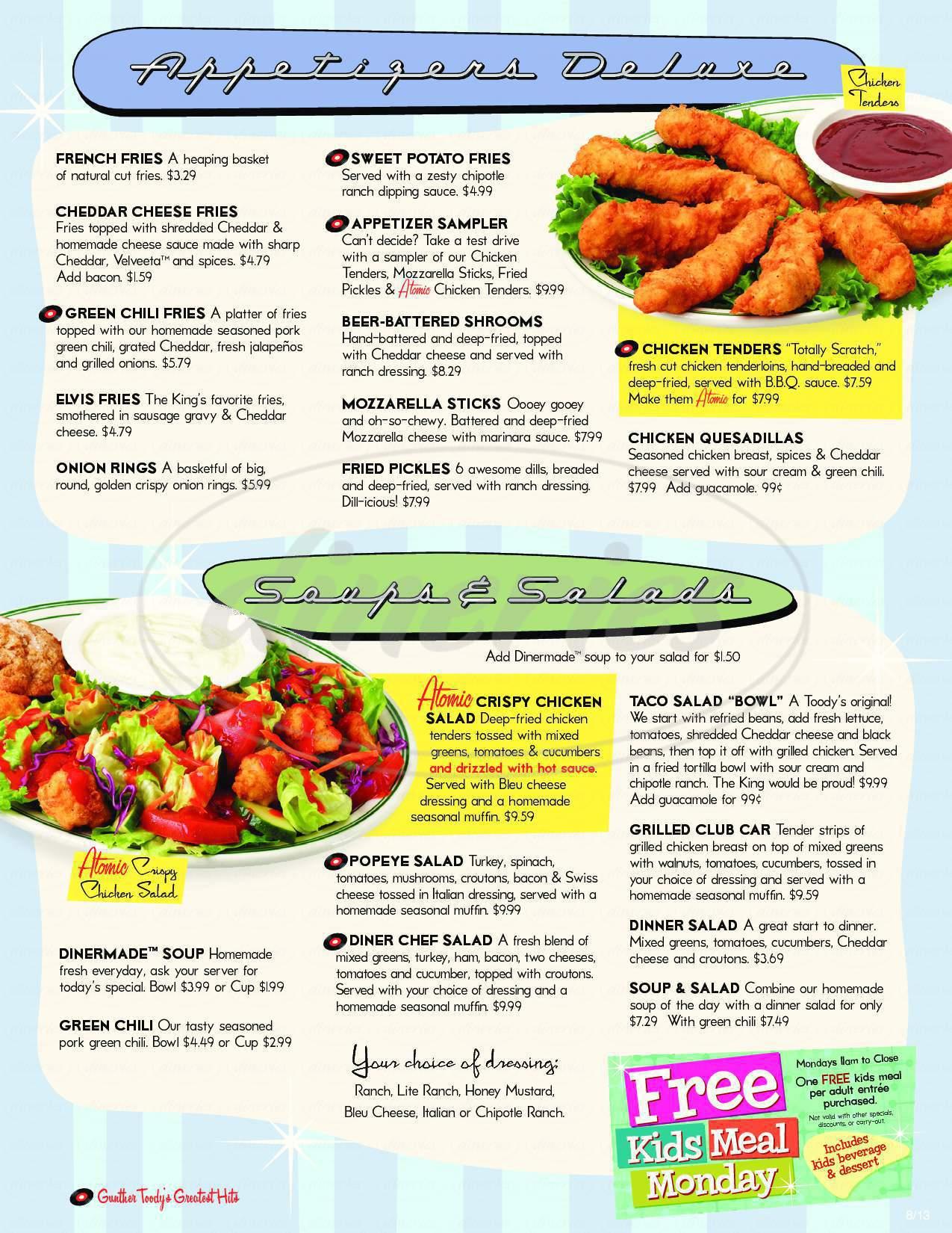 menu for Gunther Toody's