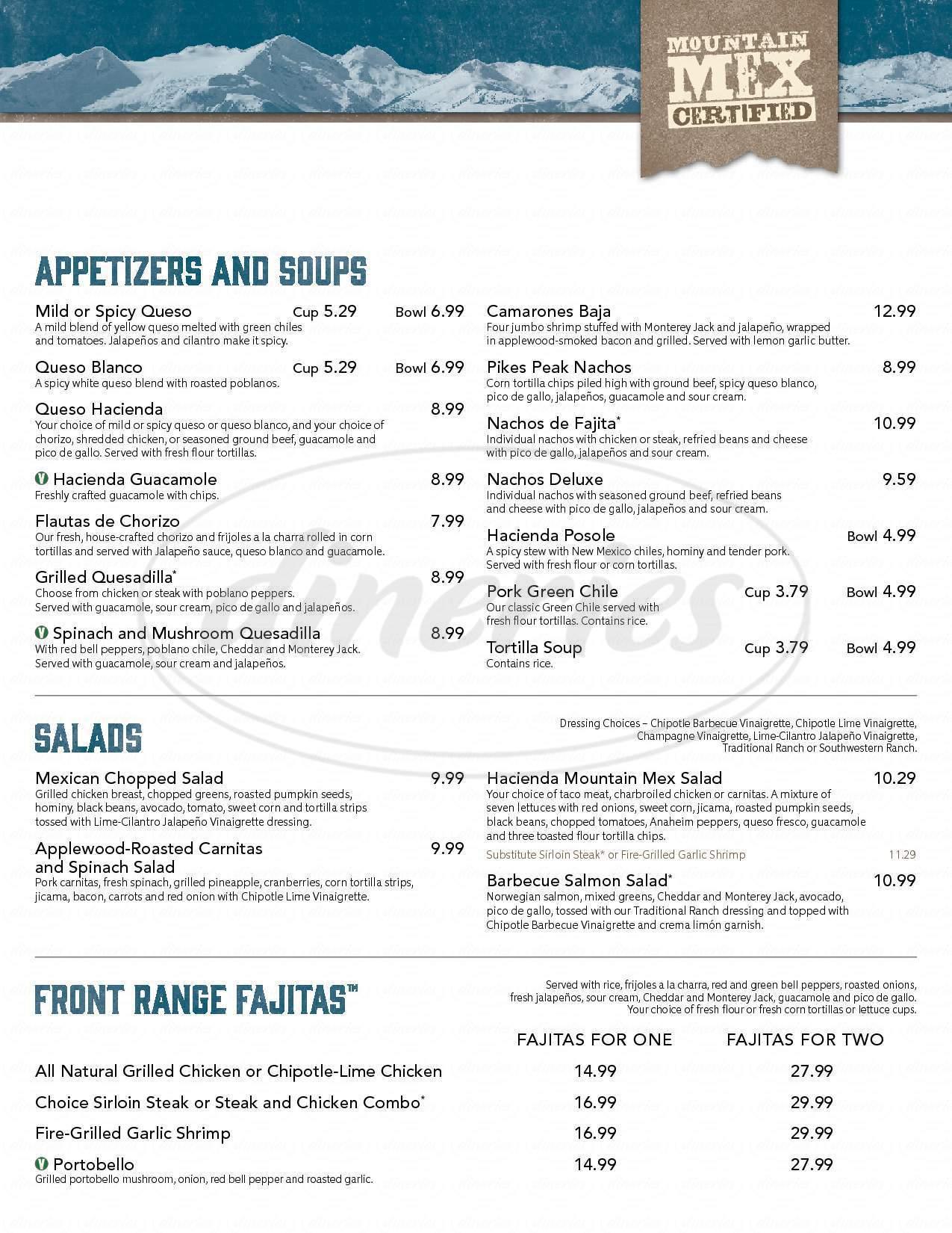 menu for Hacienda Colorado