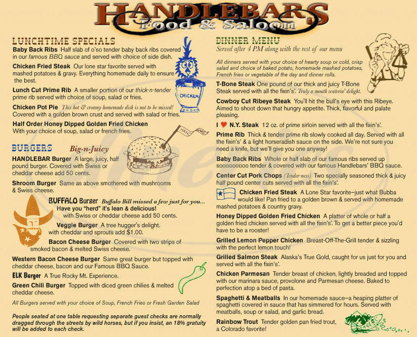 menu for Handlebars Restaurant & Saloon