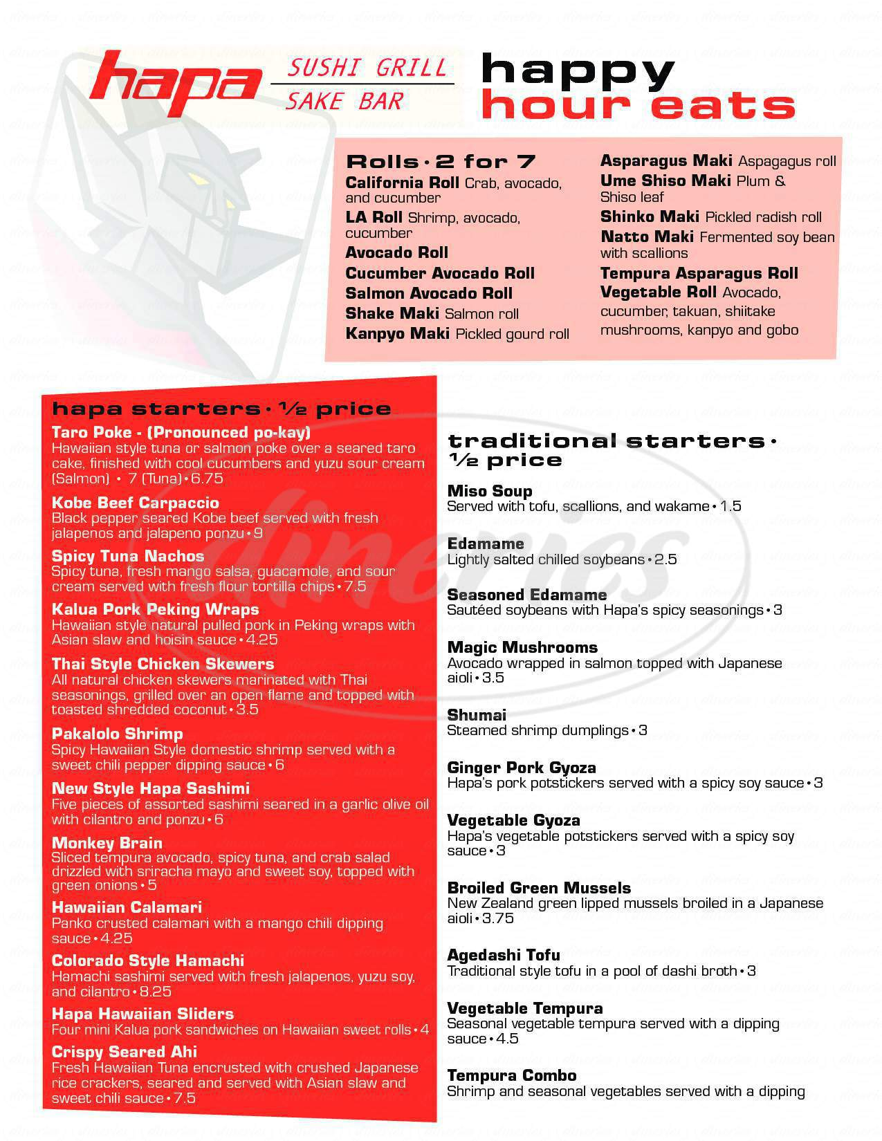 menu for Hapa Sushi Grill & Sake Bar