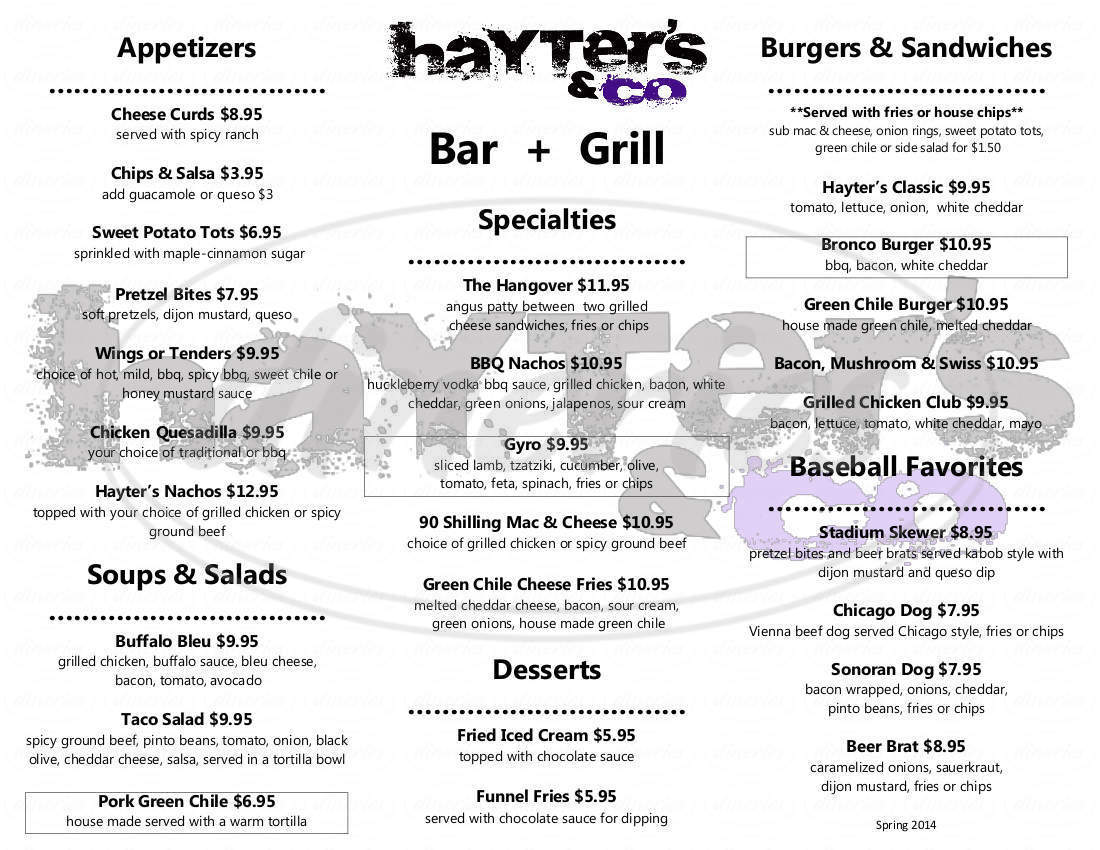 menu for Hayter's & Co.