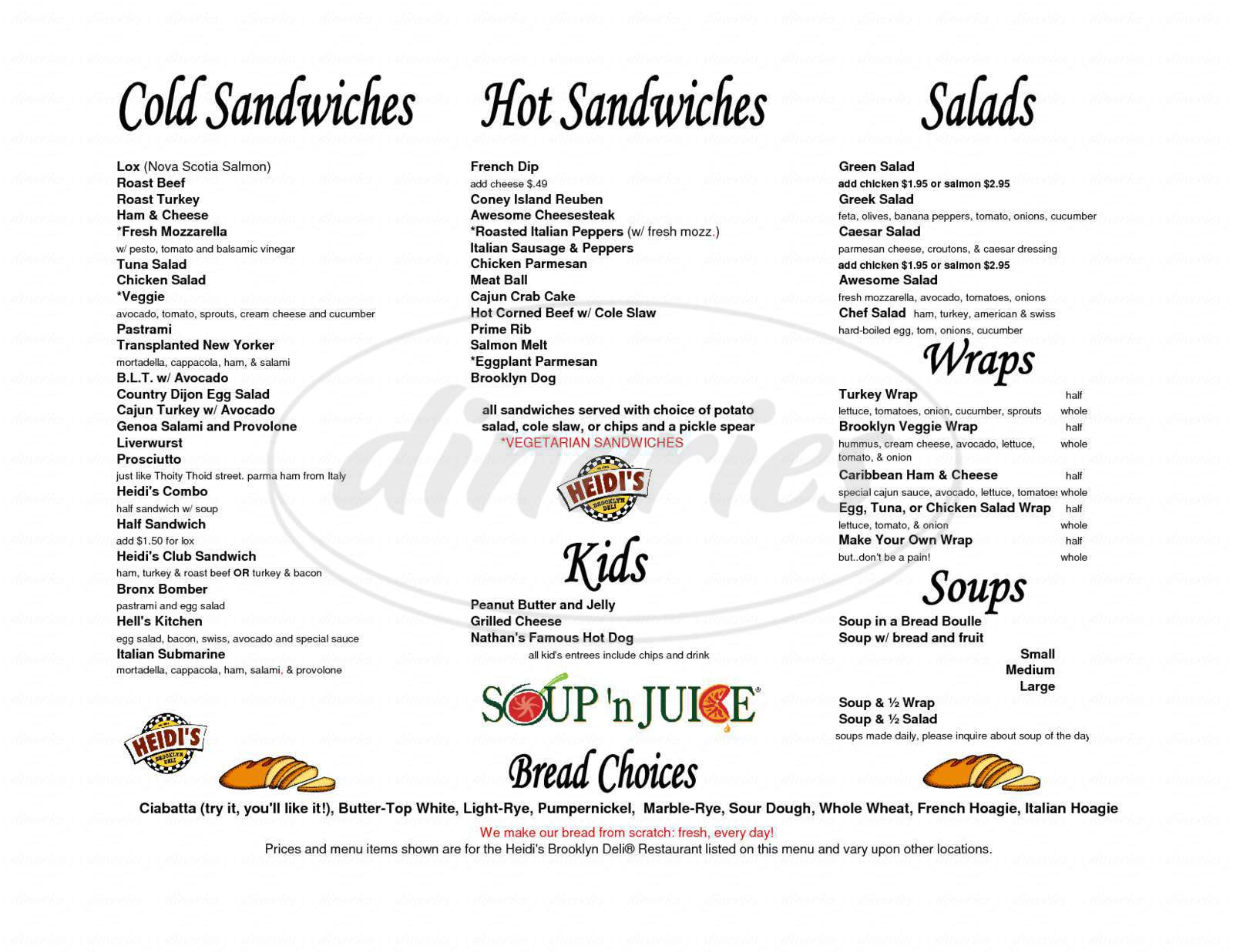 menu for Heidi's Brooklyn Deli