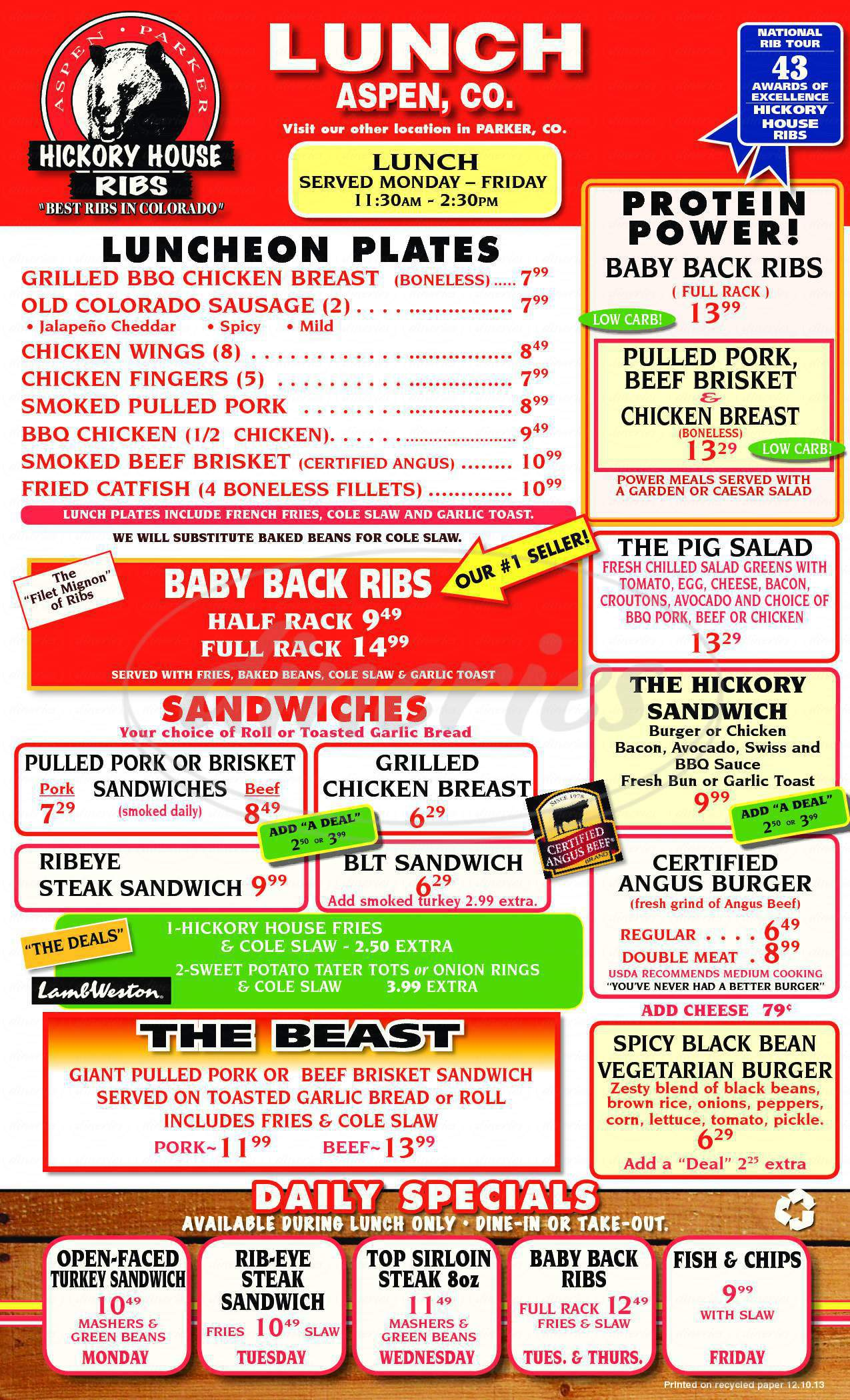 menu for Hickory House Ribs